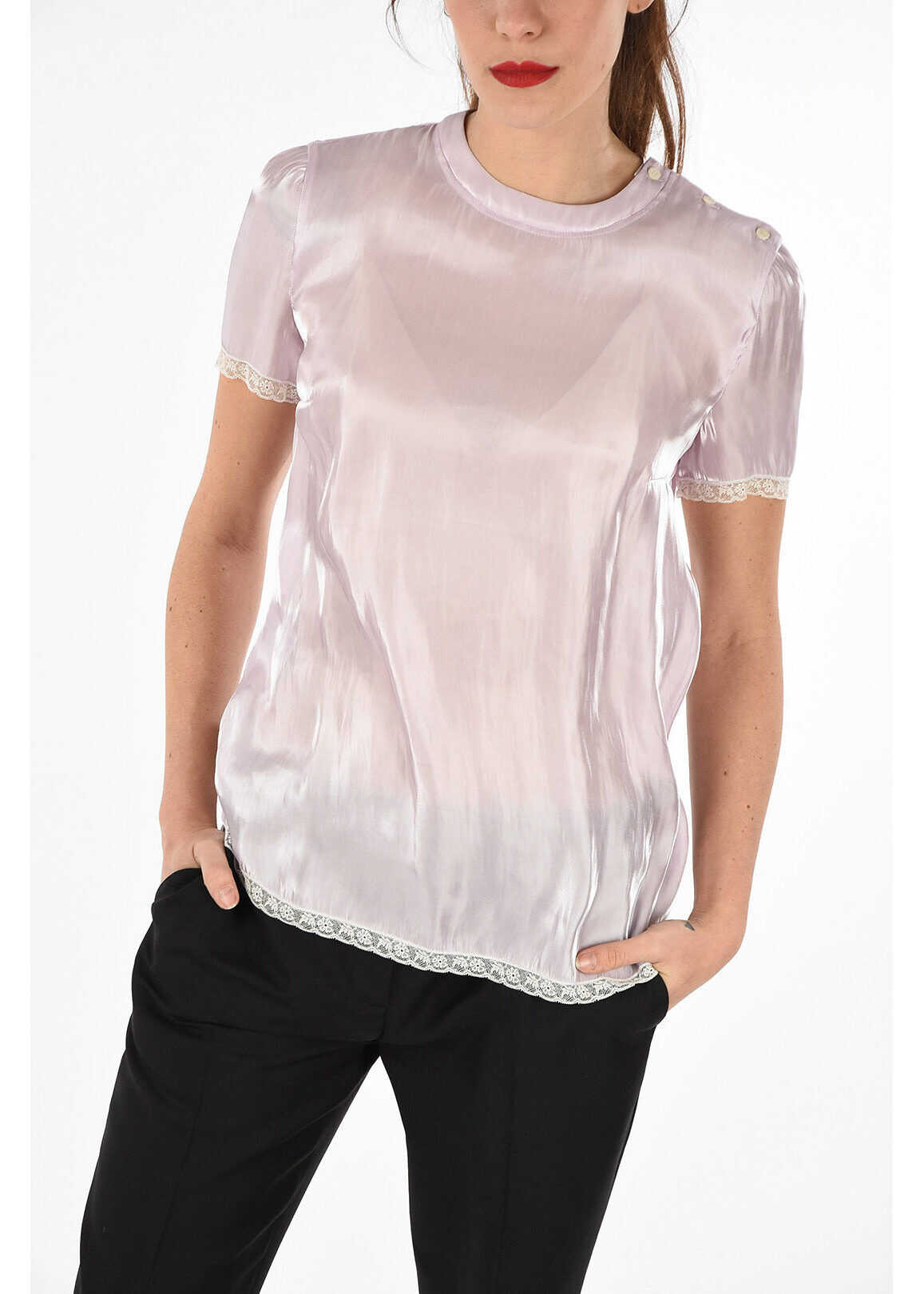 Prada crew-neck short sleeve lurex top PINK