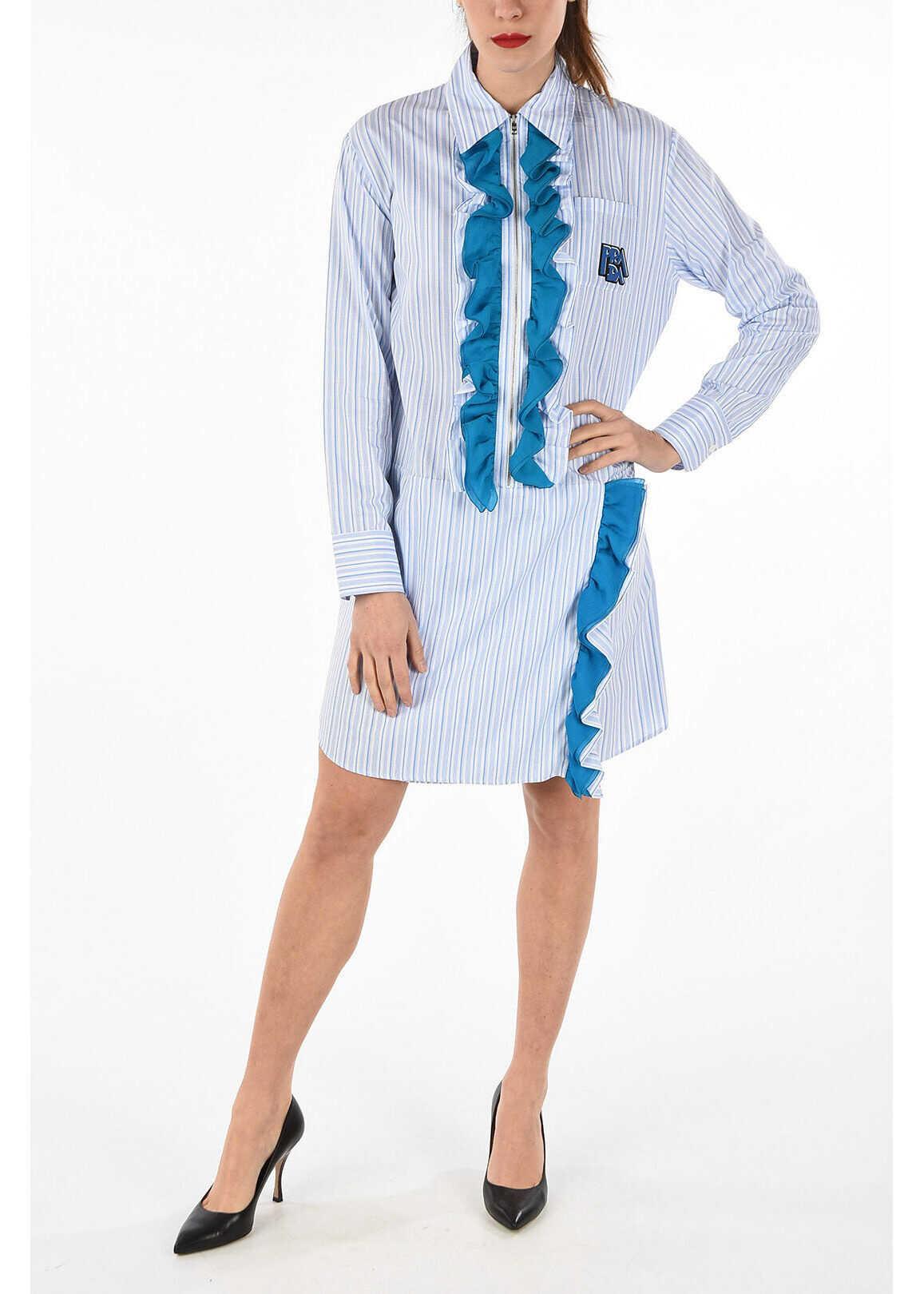 Prada Striped shirt dress with curling LIGHT BLUE