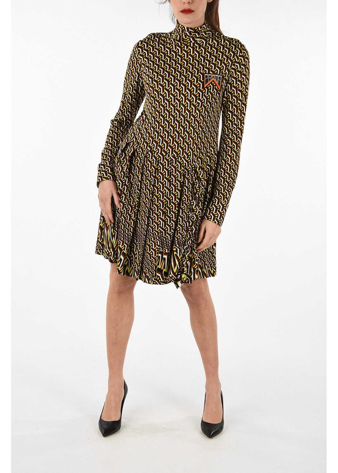 Prada Printed frilled dress MULTICOLOR
