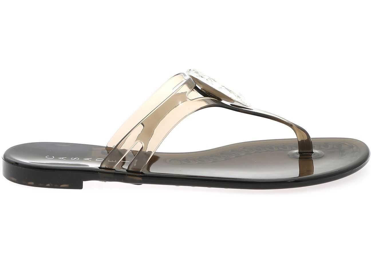 Casadei Jelly Black Sandals With Swarovski Stone 2Y231P0101BEACH9000 Black imagine b-mall.ro