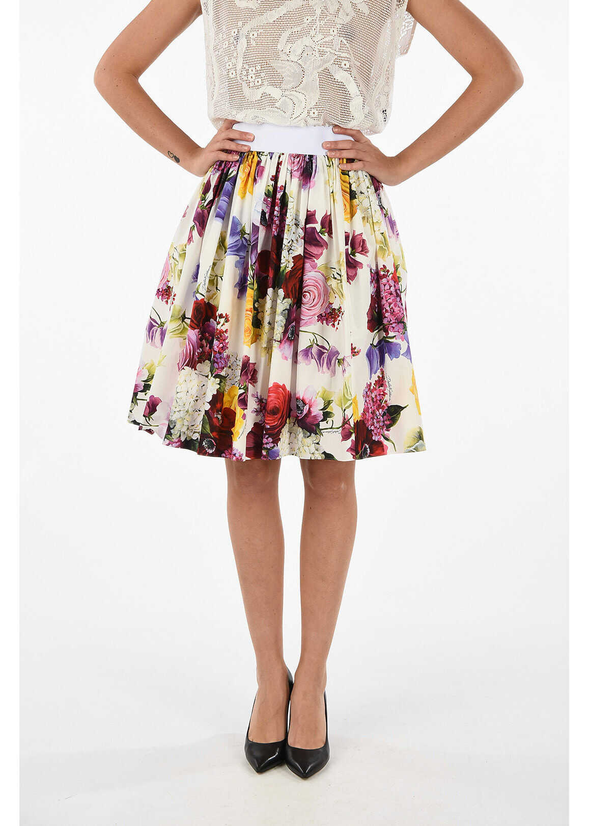 floral-print above knee circle skirt thumbnail