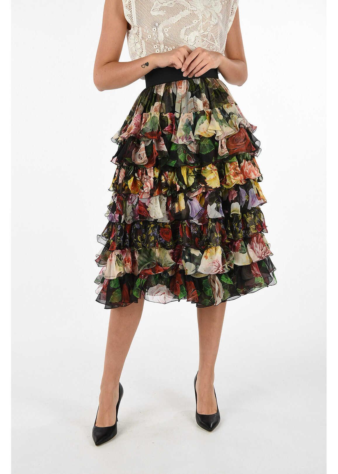 Dolce & Gabbana Silk floral-print layered skirt MULTICOLOR
