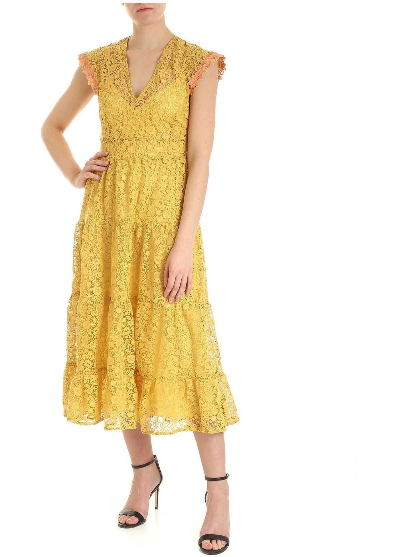 Pinko Astrorobot Dress In Yellow Macramé Yellow