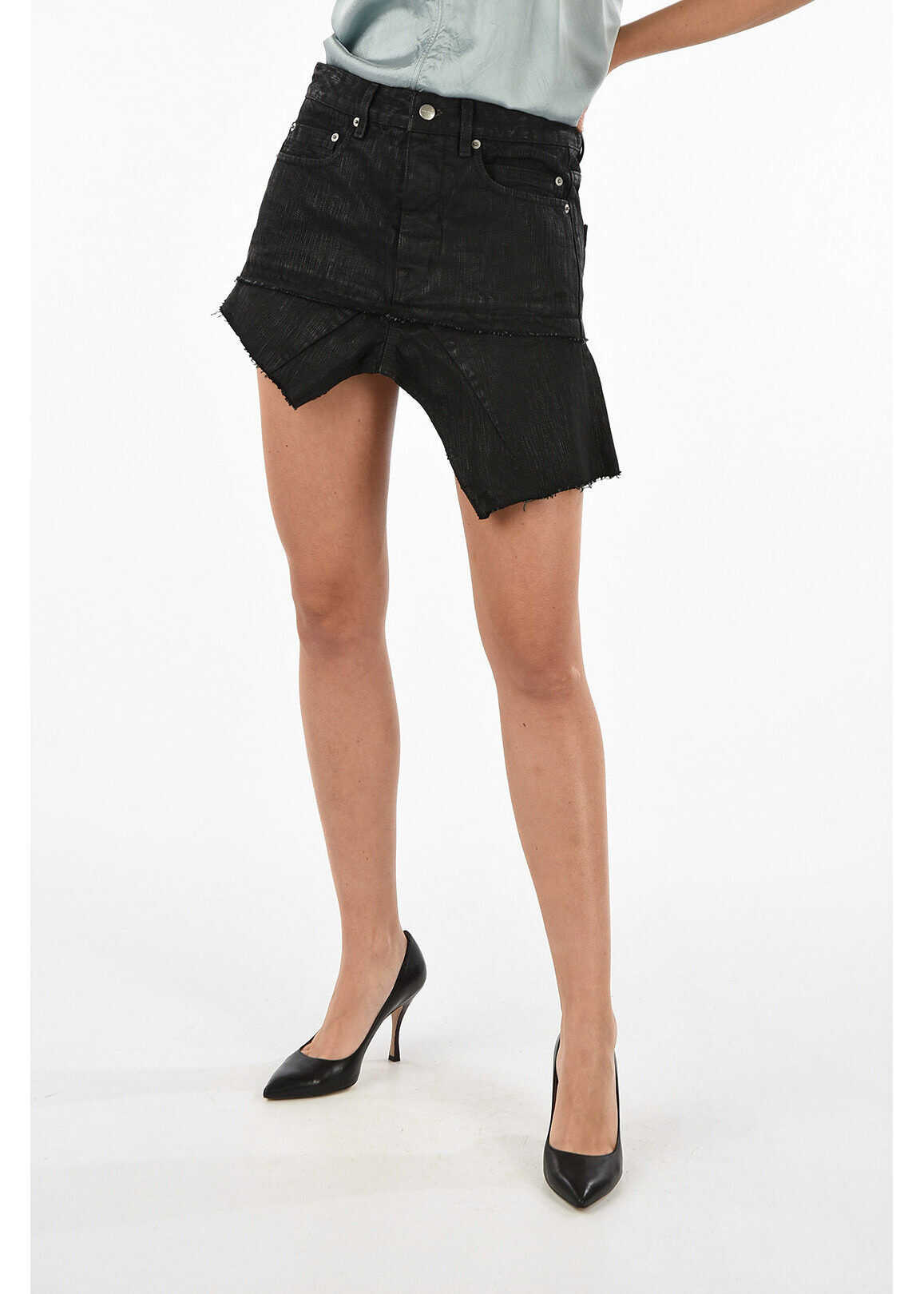 Rick Owens asymmetrical mini skirt BLACK WAX BLACK