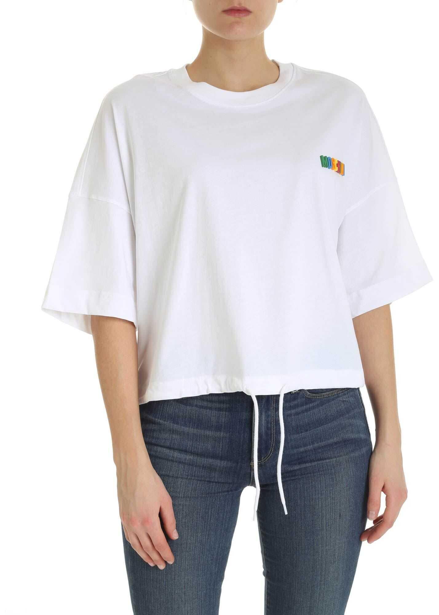 Moschino Multicolor Logo T-Shirt In White White