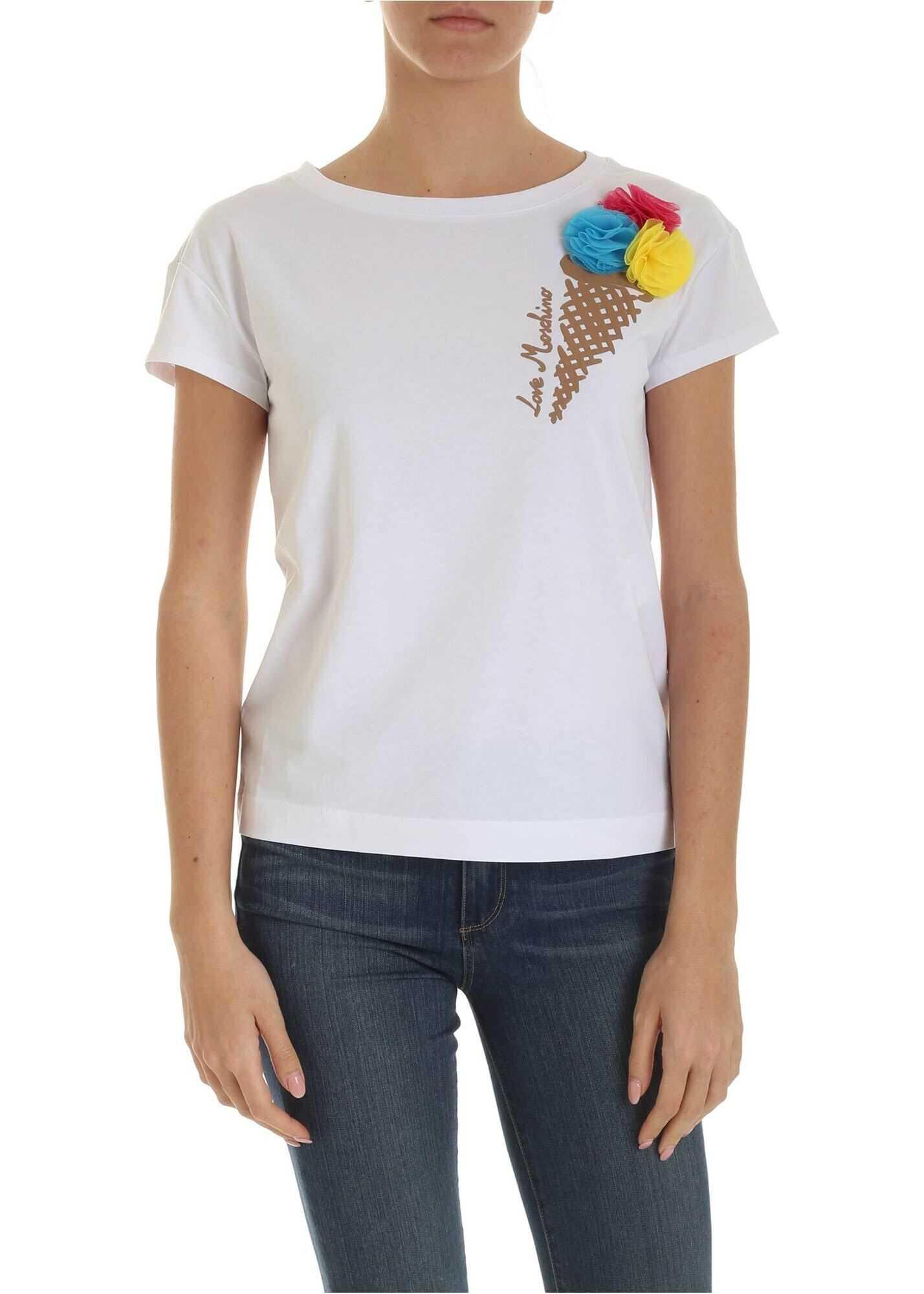 LOVE Moschino Ice Cream Print T-Shirt In White White