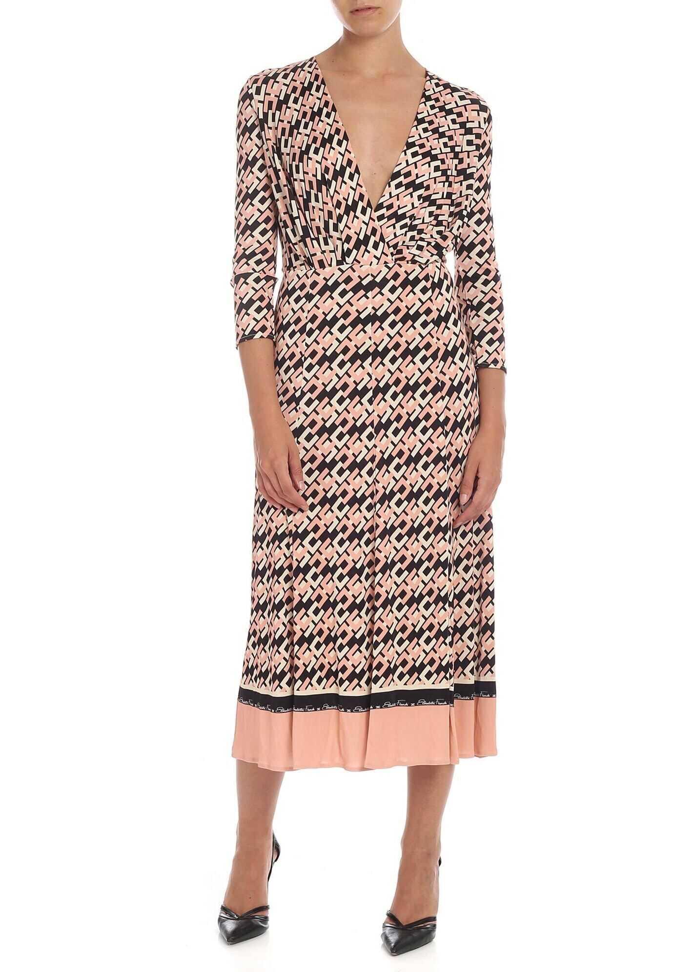 Elisabetta Franchi Monogram Dress In Old Pink* Pink