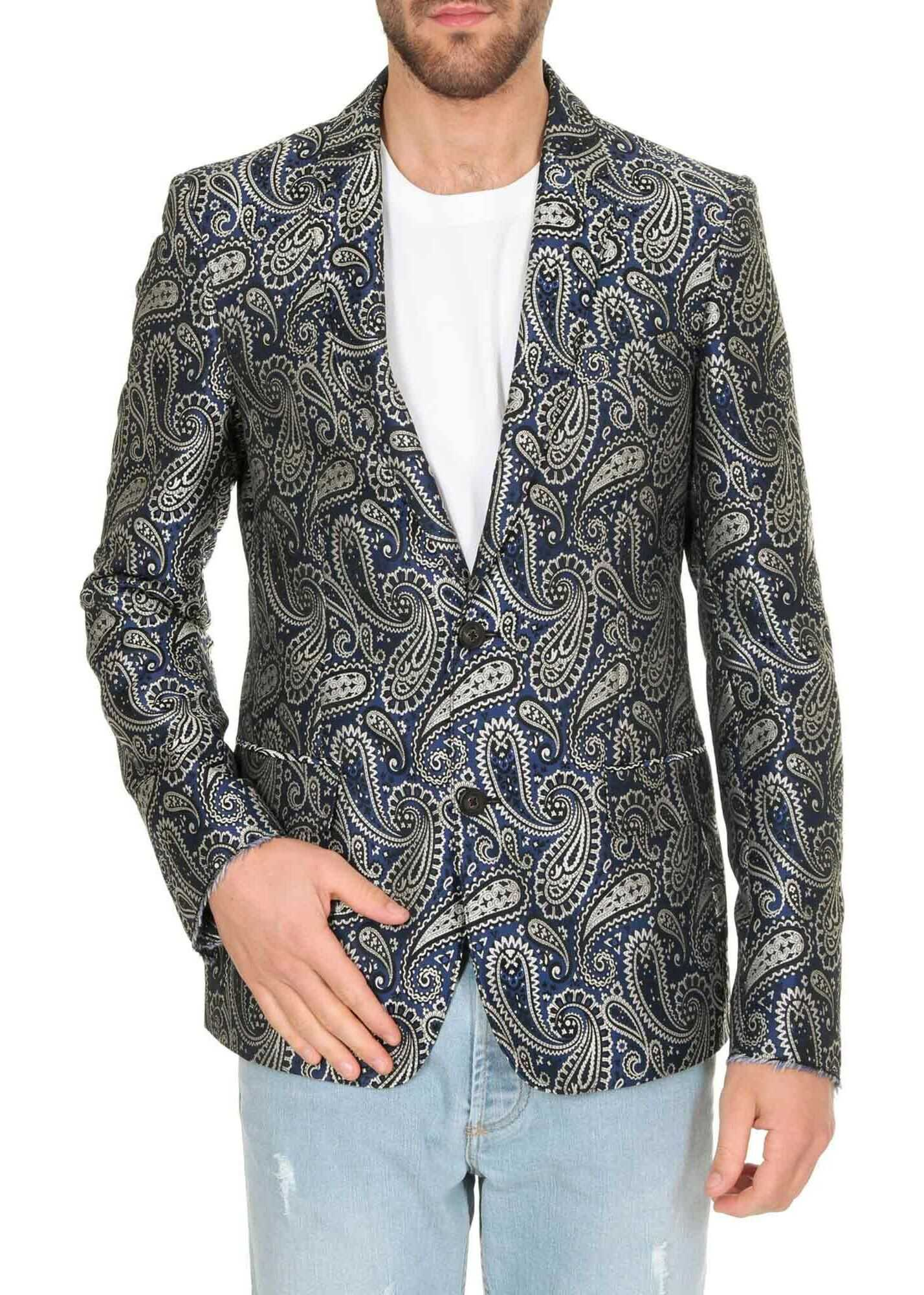 Golden Goose Milano Jacquard Jacket In Shades Of Blue Blue