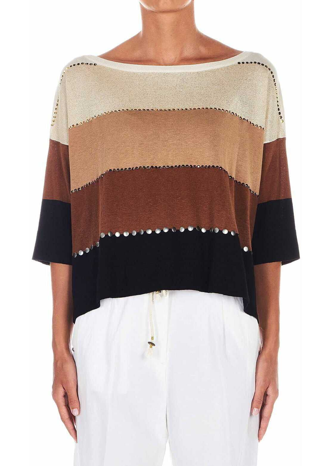 Liu Jo Striped pullover with studs Brown
