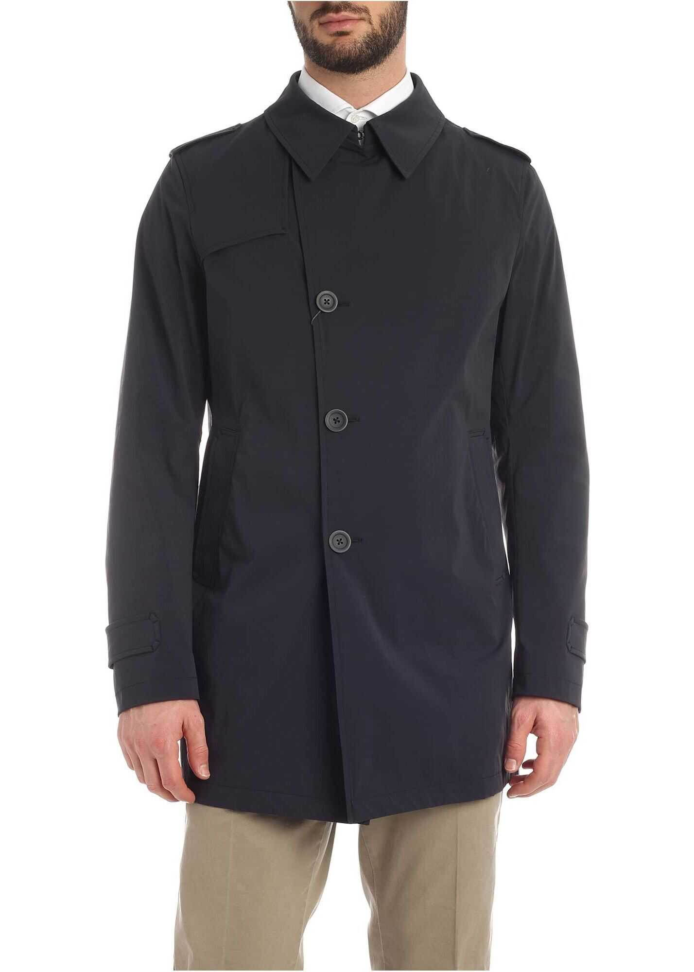 Herno Rain Collection Trench Coat In Blue Blue imagine