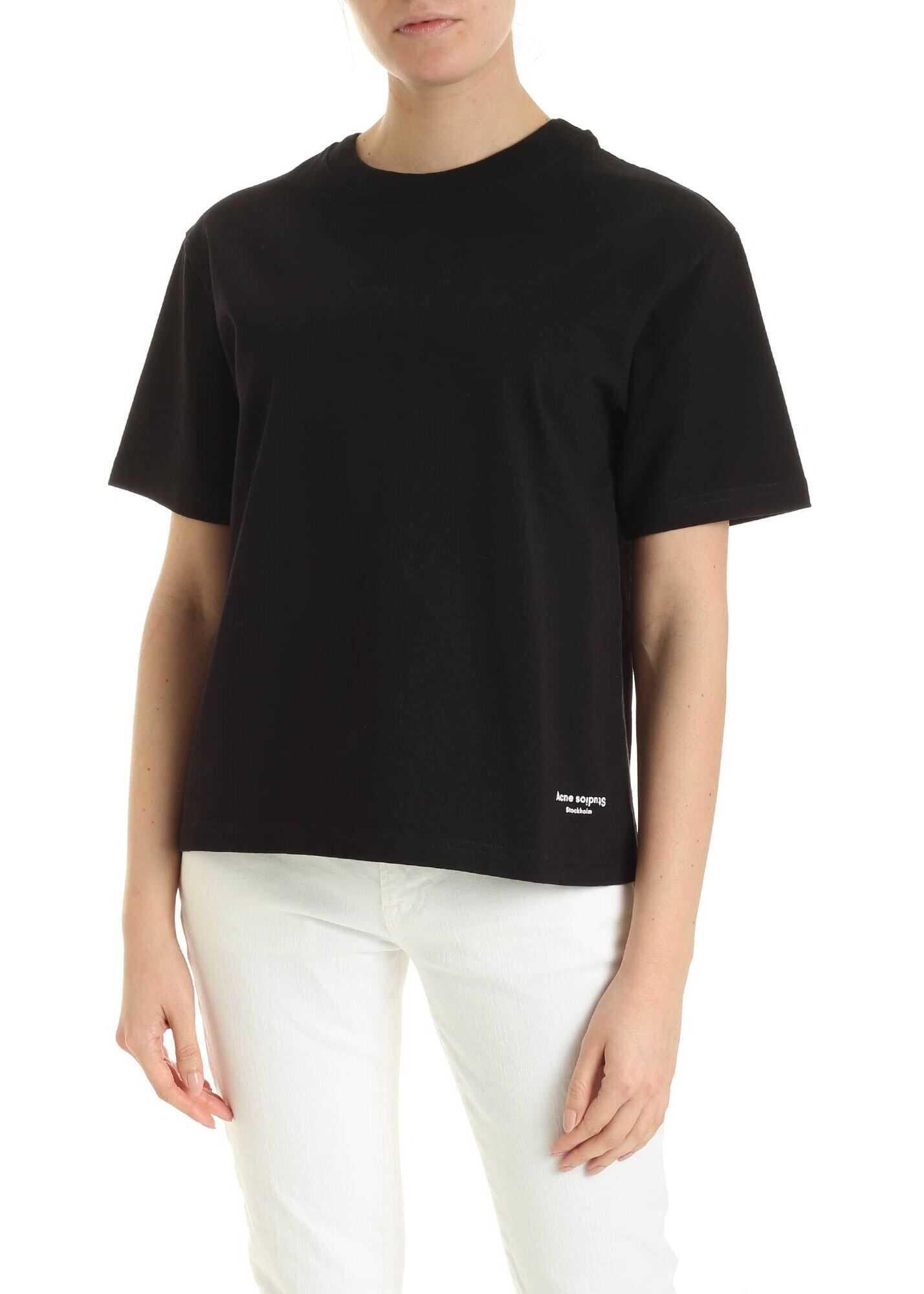 Acne Studios Contrasting Tape T-Shirt In Black Black