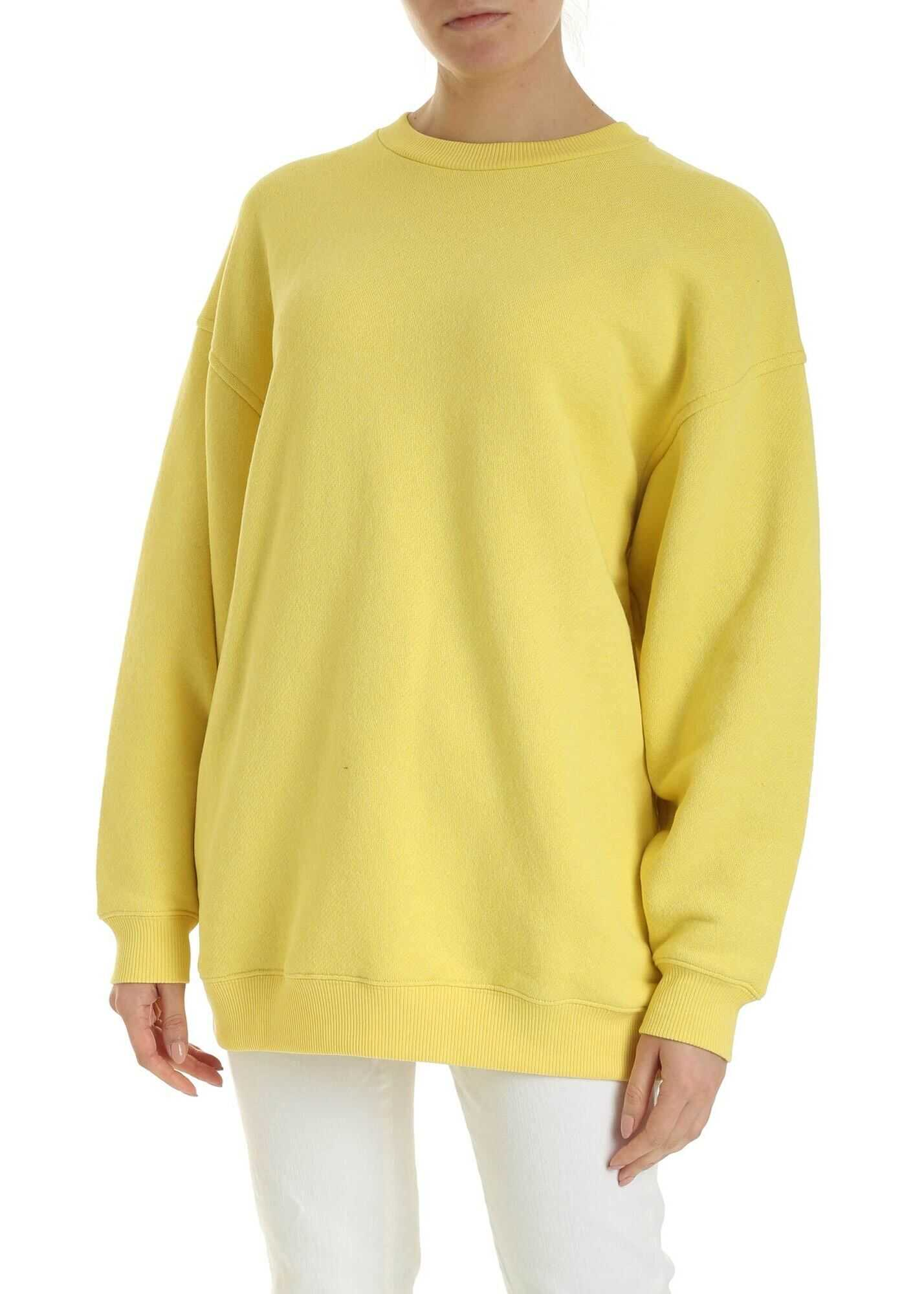 Acne Studios Inverted Label Sweatshirt In Canary Yellow Yellow