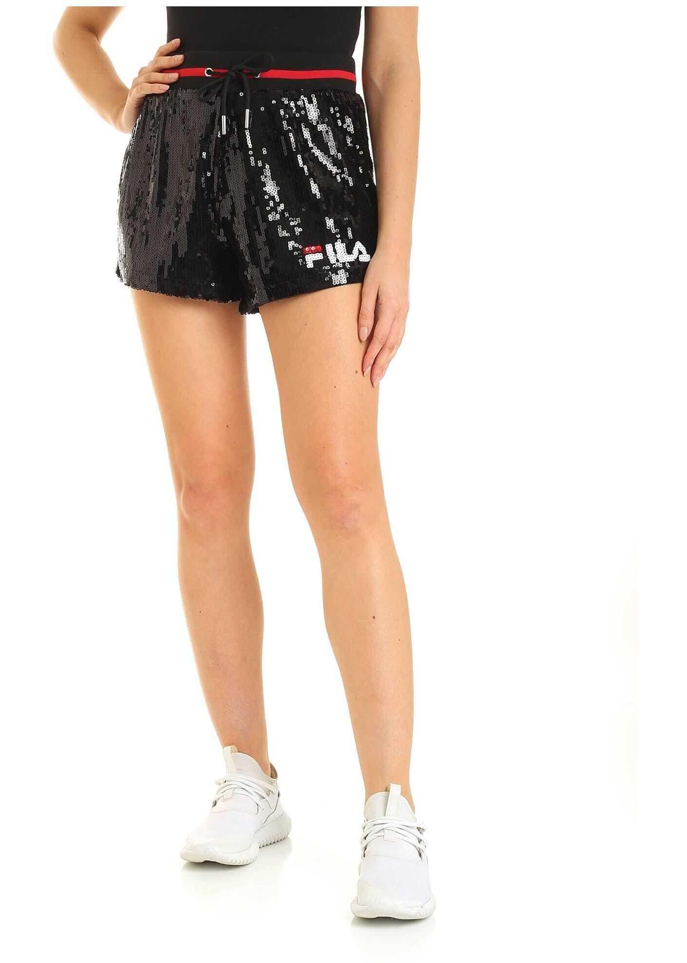 Fila Kiku Sequin Shorts In Blac With Logo Black