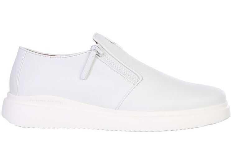 Giuseppe Zanotti Leather Slip On Sneakers WHITE