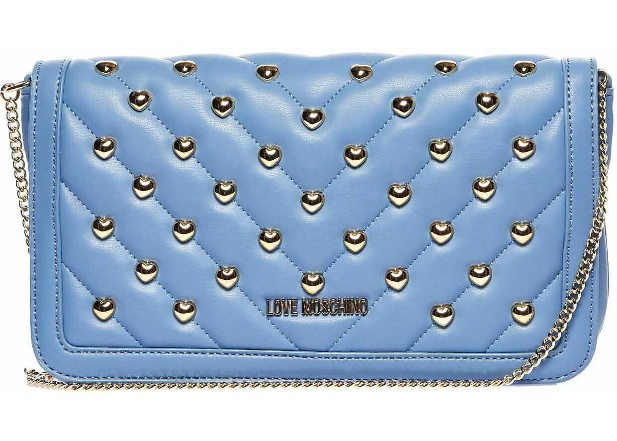 LOVE Moschino Quilted crossbody bag with heart studs Blue