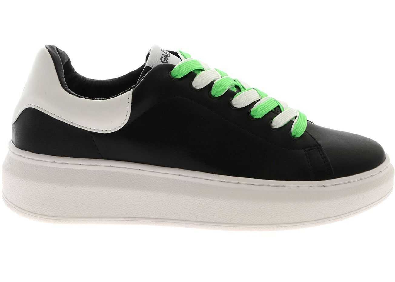GAëLLE Paris Neon Laces Sneakers In Black Black