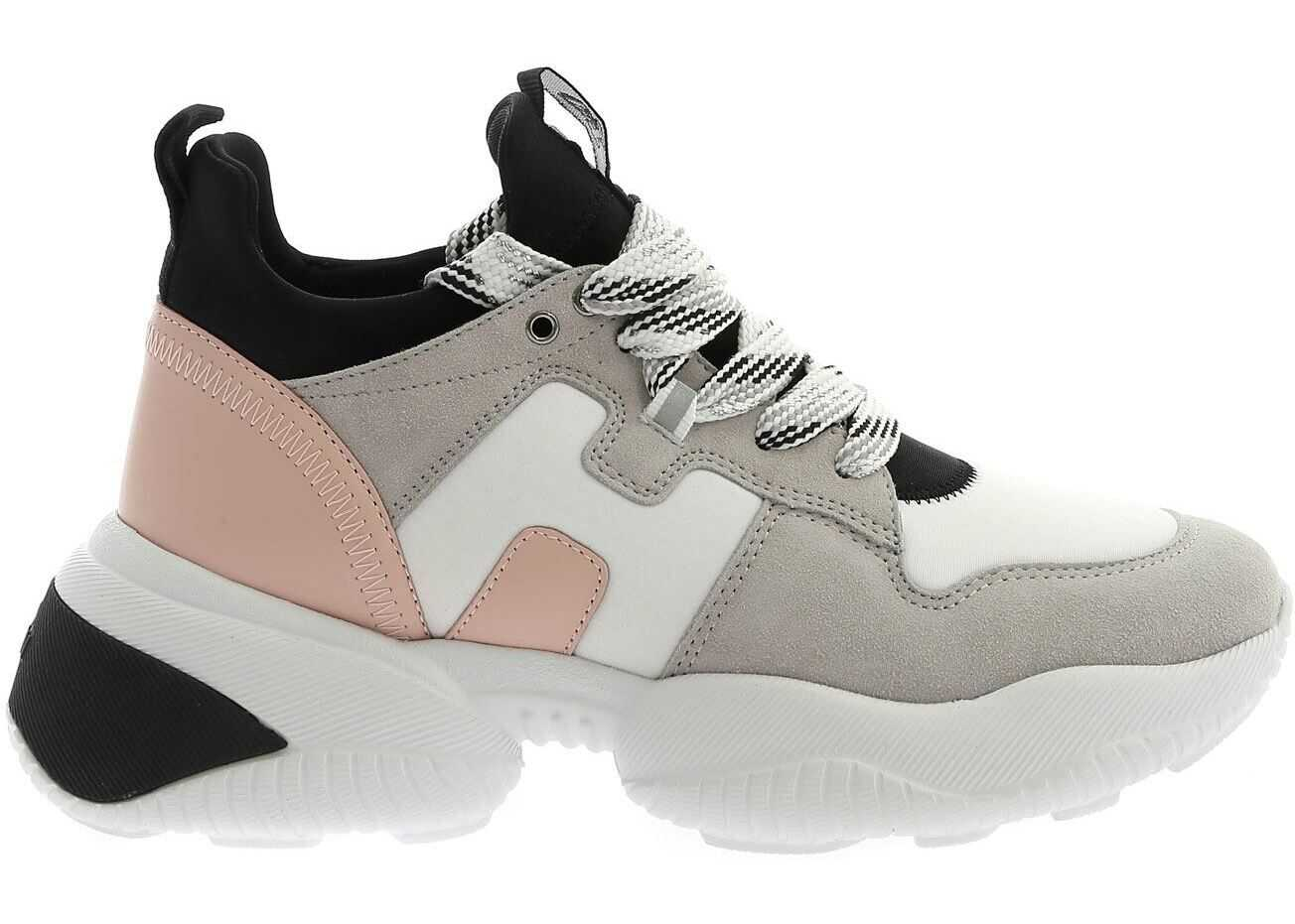 Hogan Interaction Sneakers In White Grey And Pink Grey