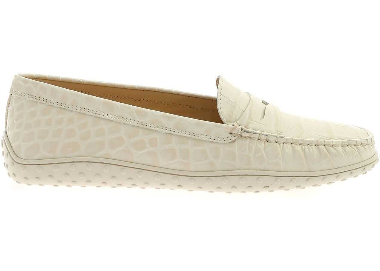 TOD'S Coco-Print Loafers In Ivory Color White