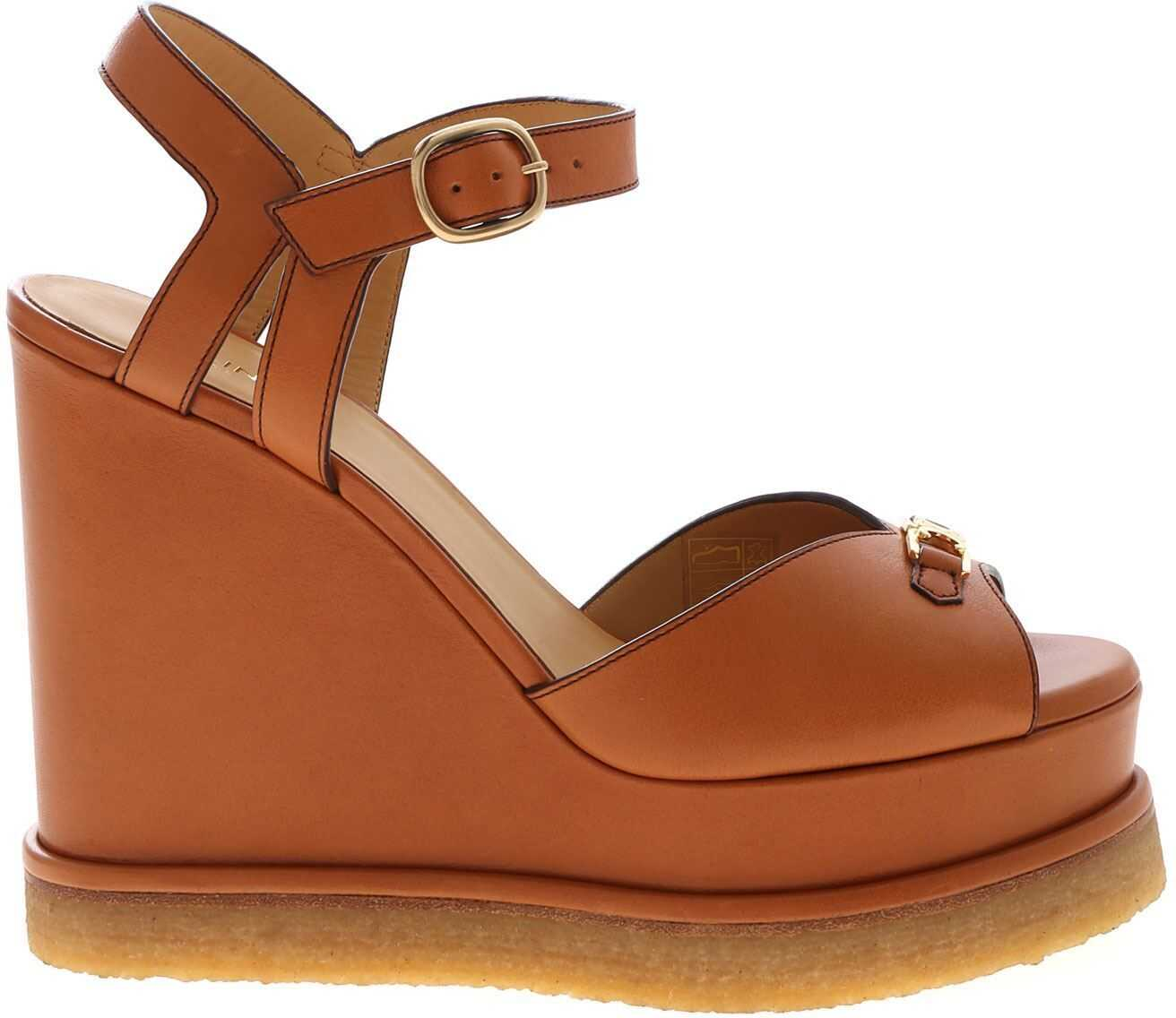 Céline Golden Logo Open Toe Sandals In Brown Brown