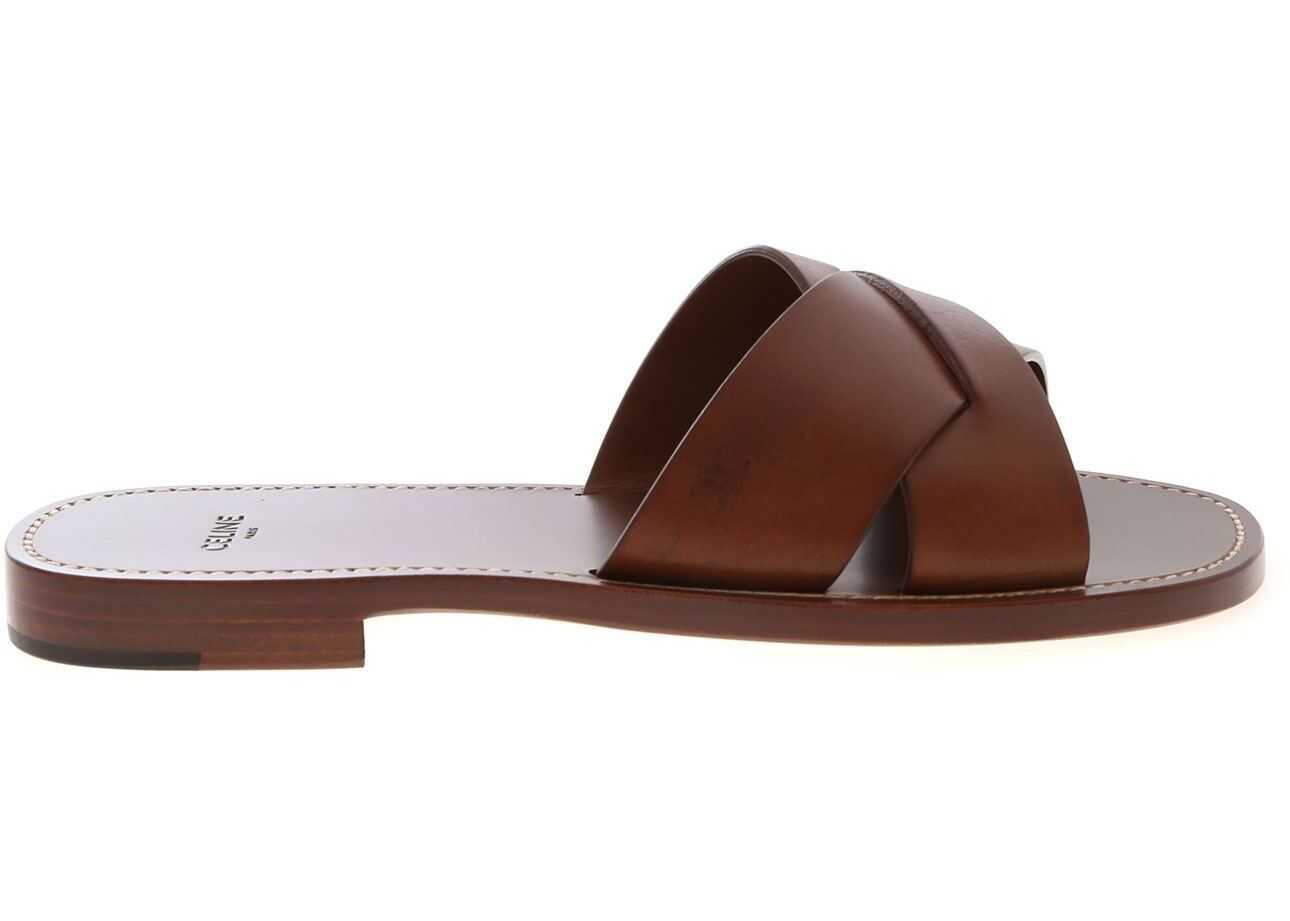 Céline Braided Leather Slippers In Brown Brown