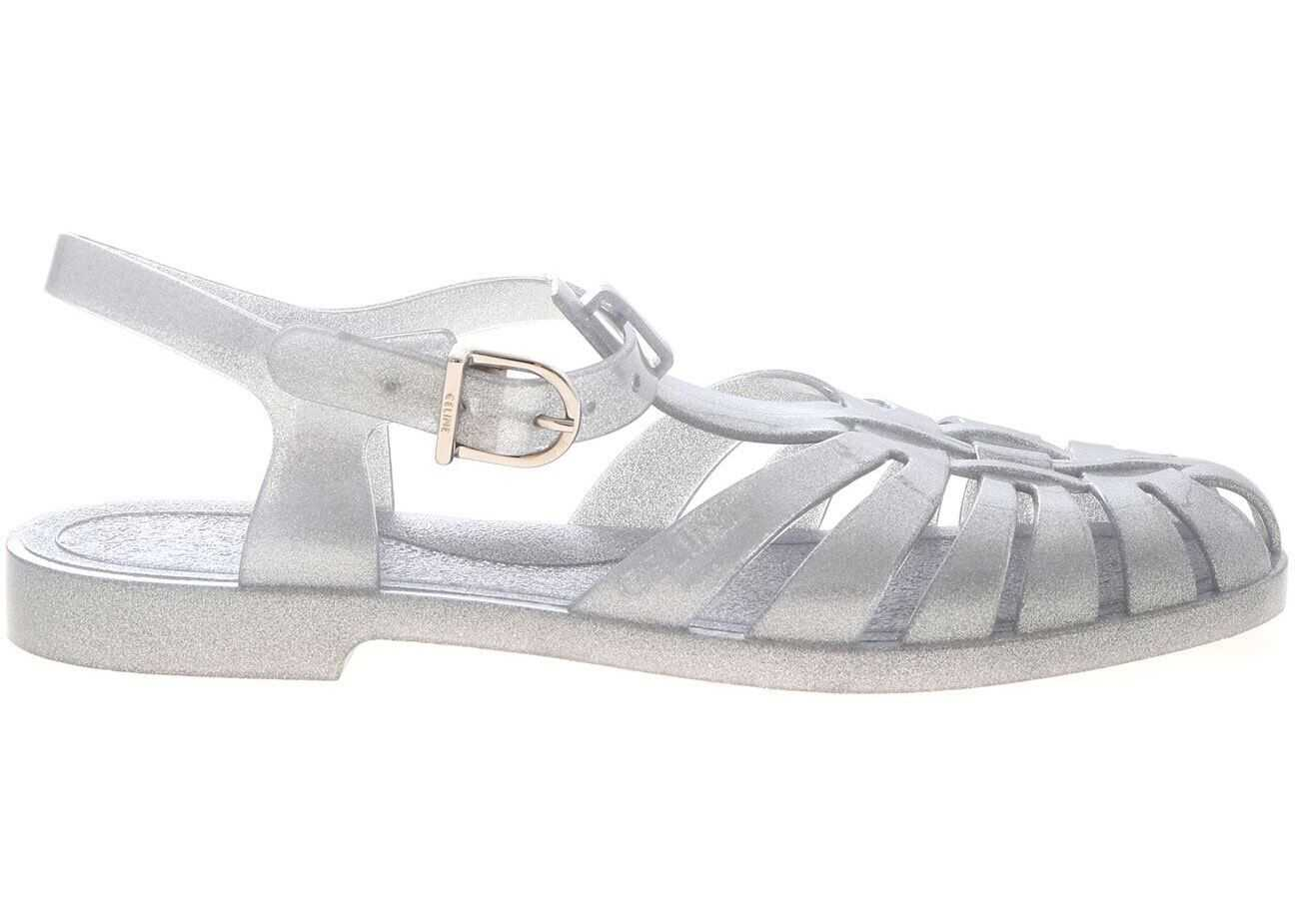 Céline Glitter Sandals In Grey Grey