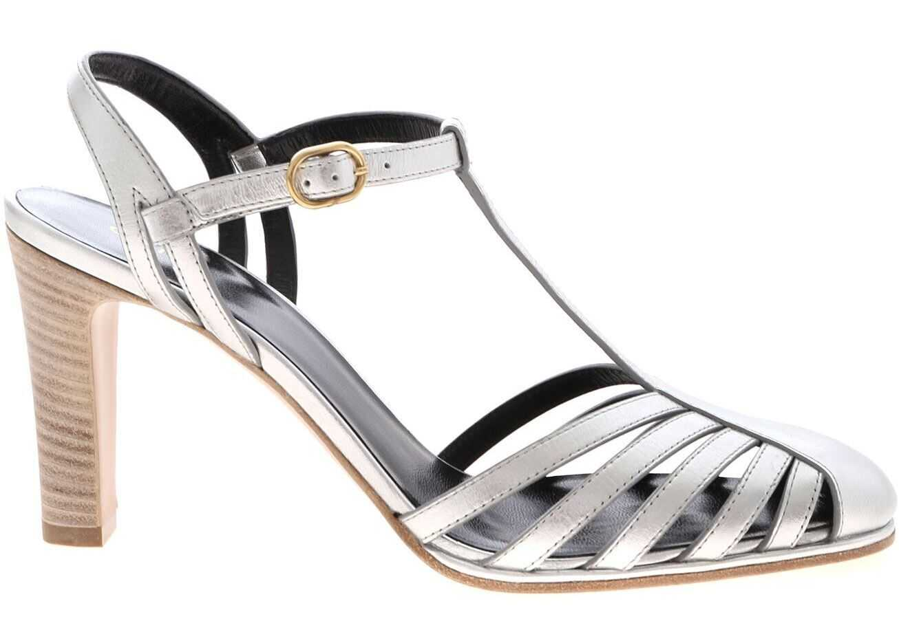 Céline Claude Silver Leather T-Strap Silver