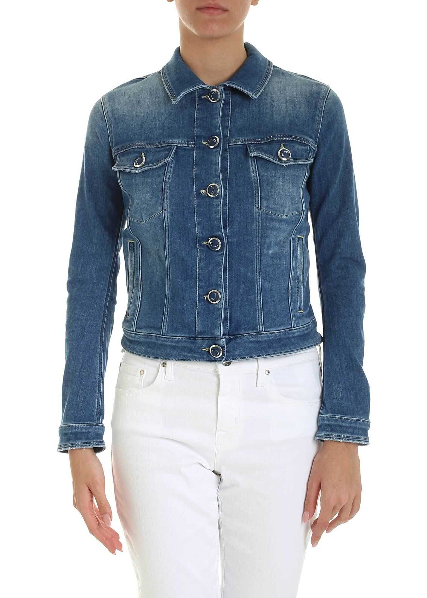 Jacob Cohen Calf Hair Logo Denim Jacket In Blue Blue