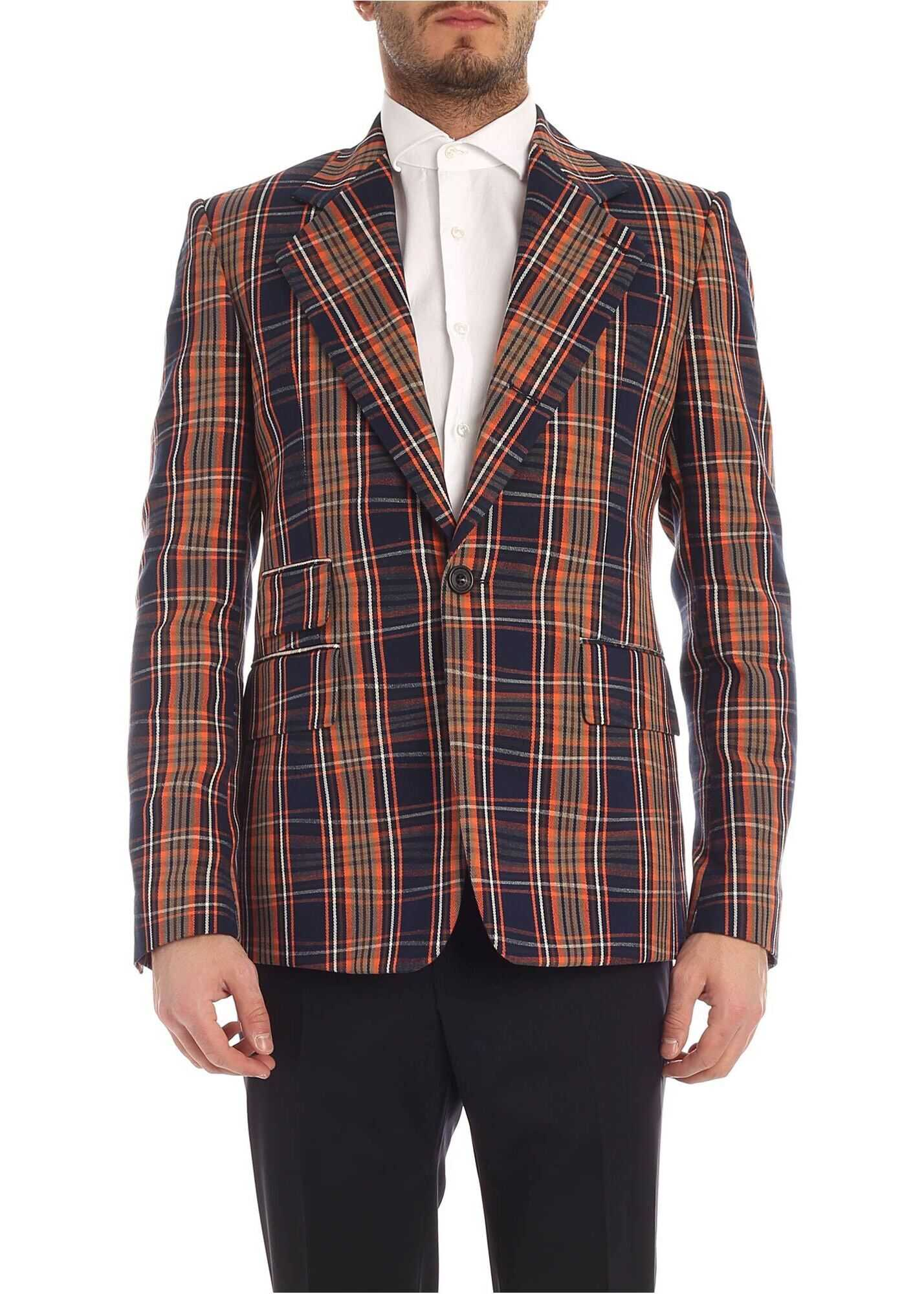 Vivienne Westwood Single Breasted Checked Jacket In Blue And Orange Blue imagine