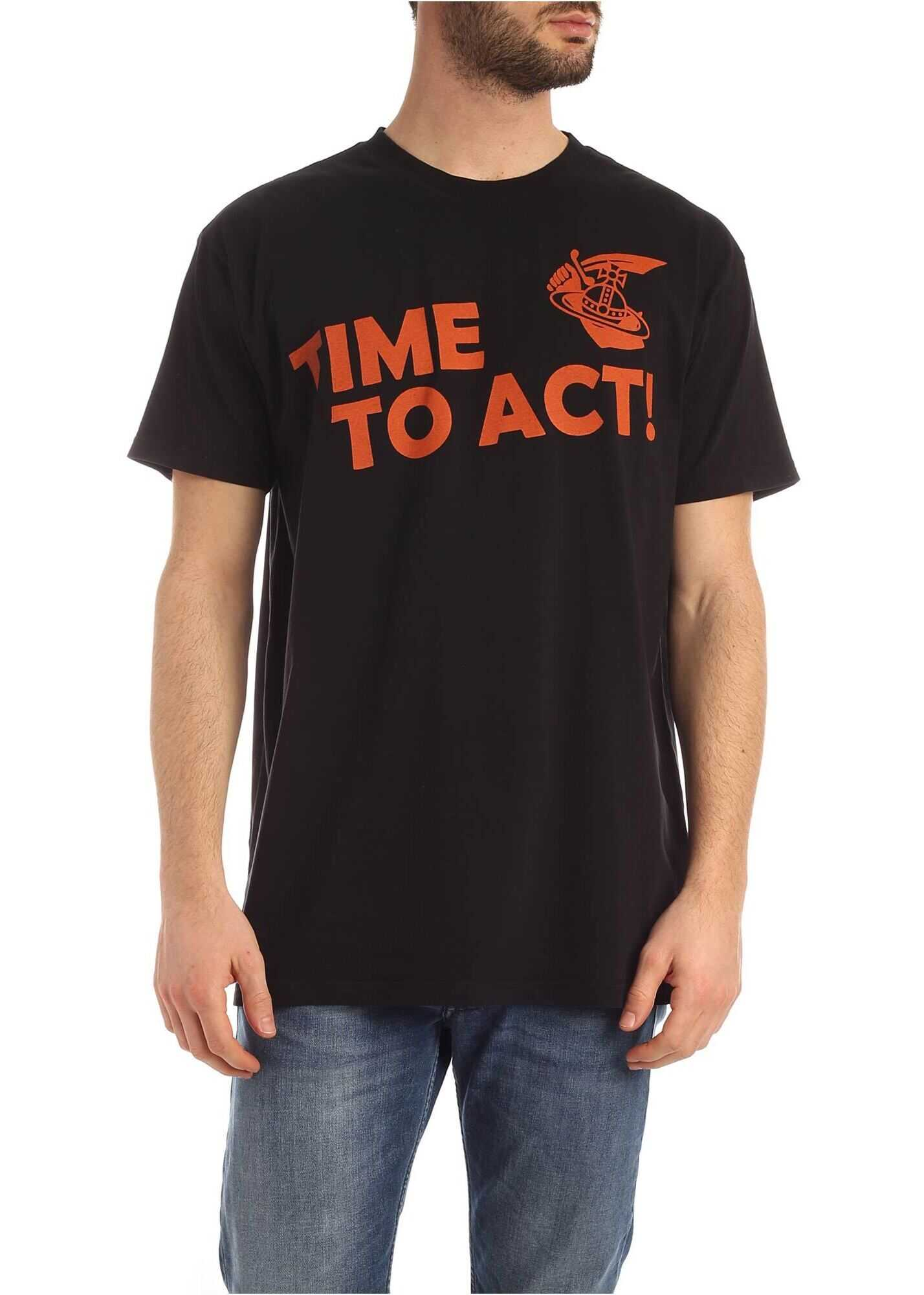 Vivienne Westwood Anglomania New Boxy Time To Act T-Shirt In Black Black