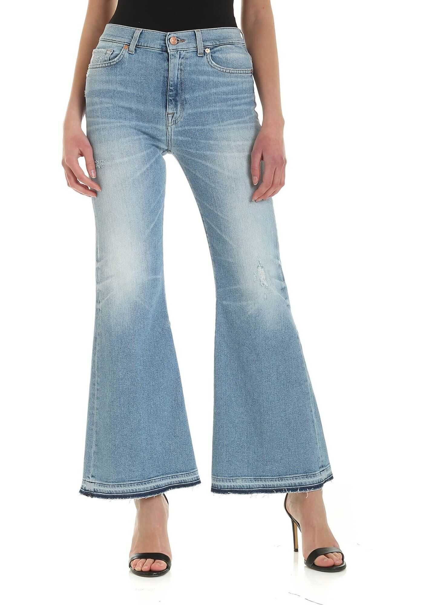 Hw Flare Crop Unrolled Jeans In Light Blue thumbnail