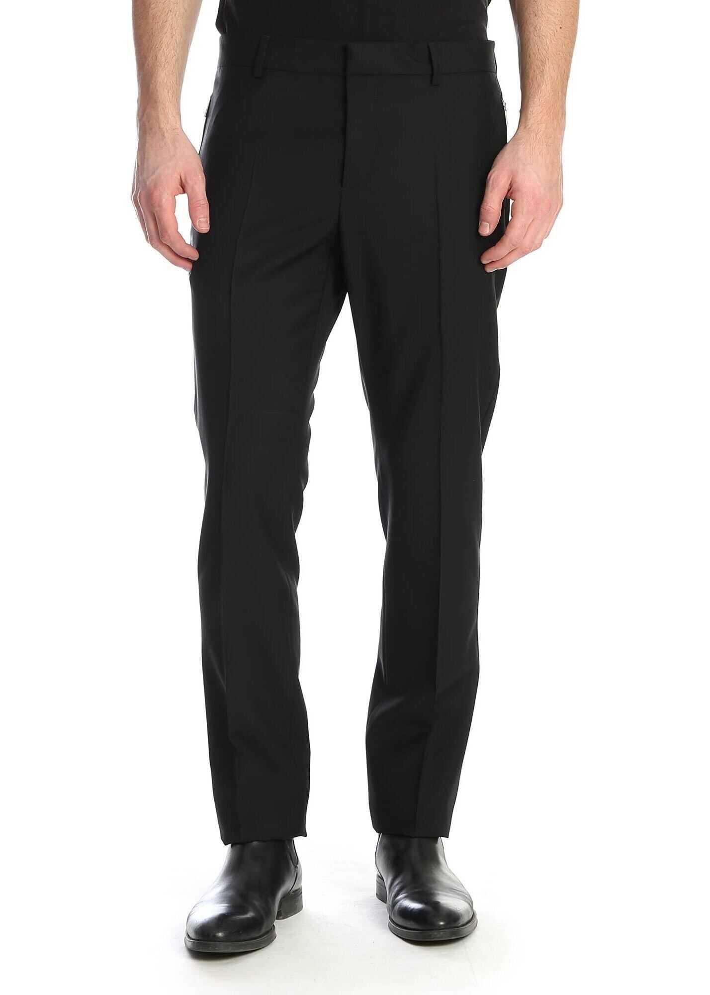 Valentino Garavani Wool Trousers In Black Black imagine