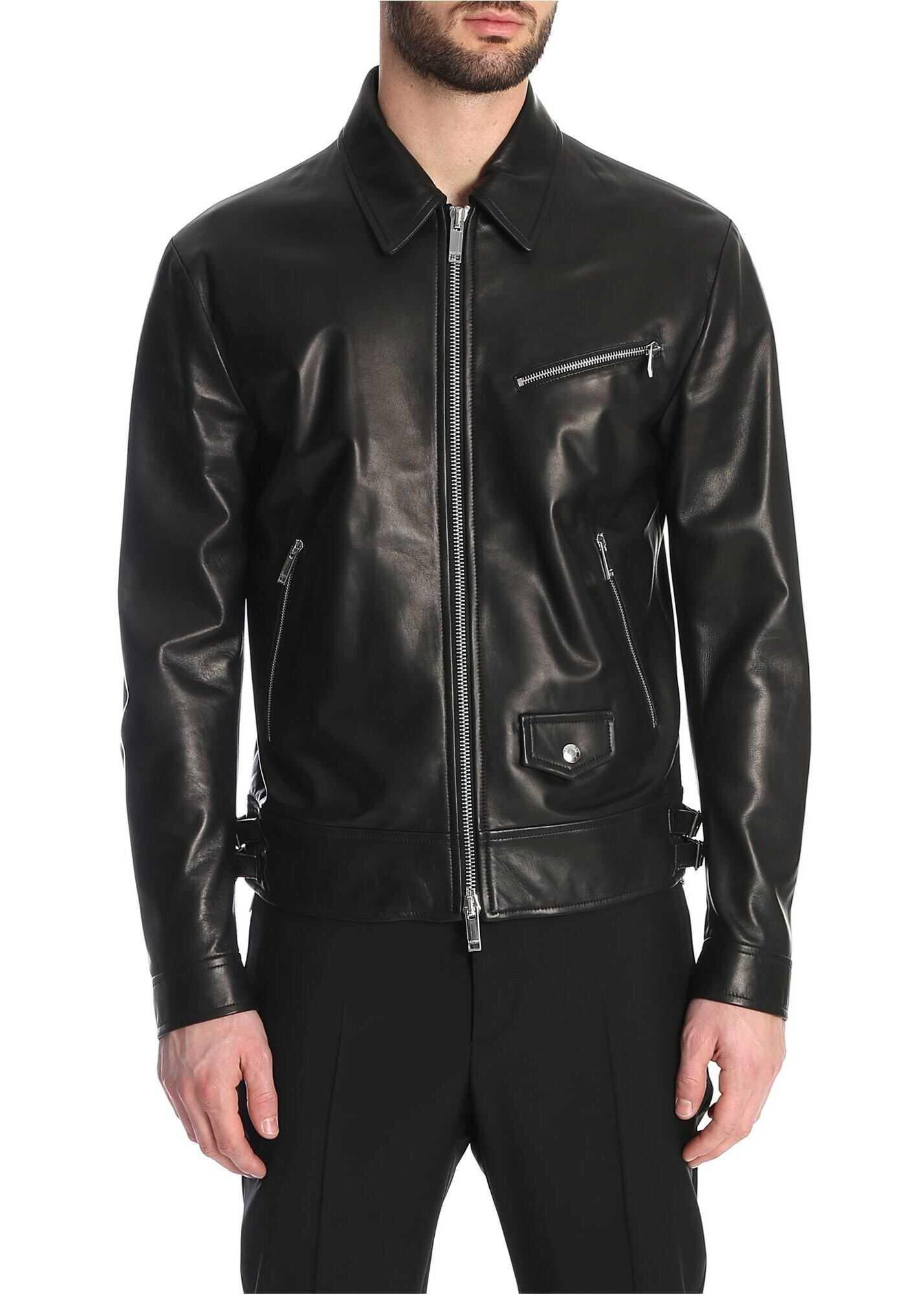 Valentino Garavani Vltn Detail Leather Jacket In Black Black imagine