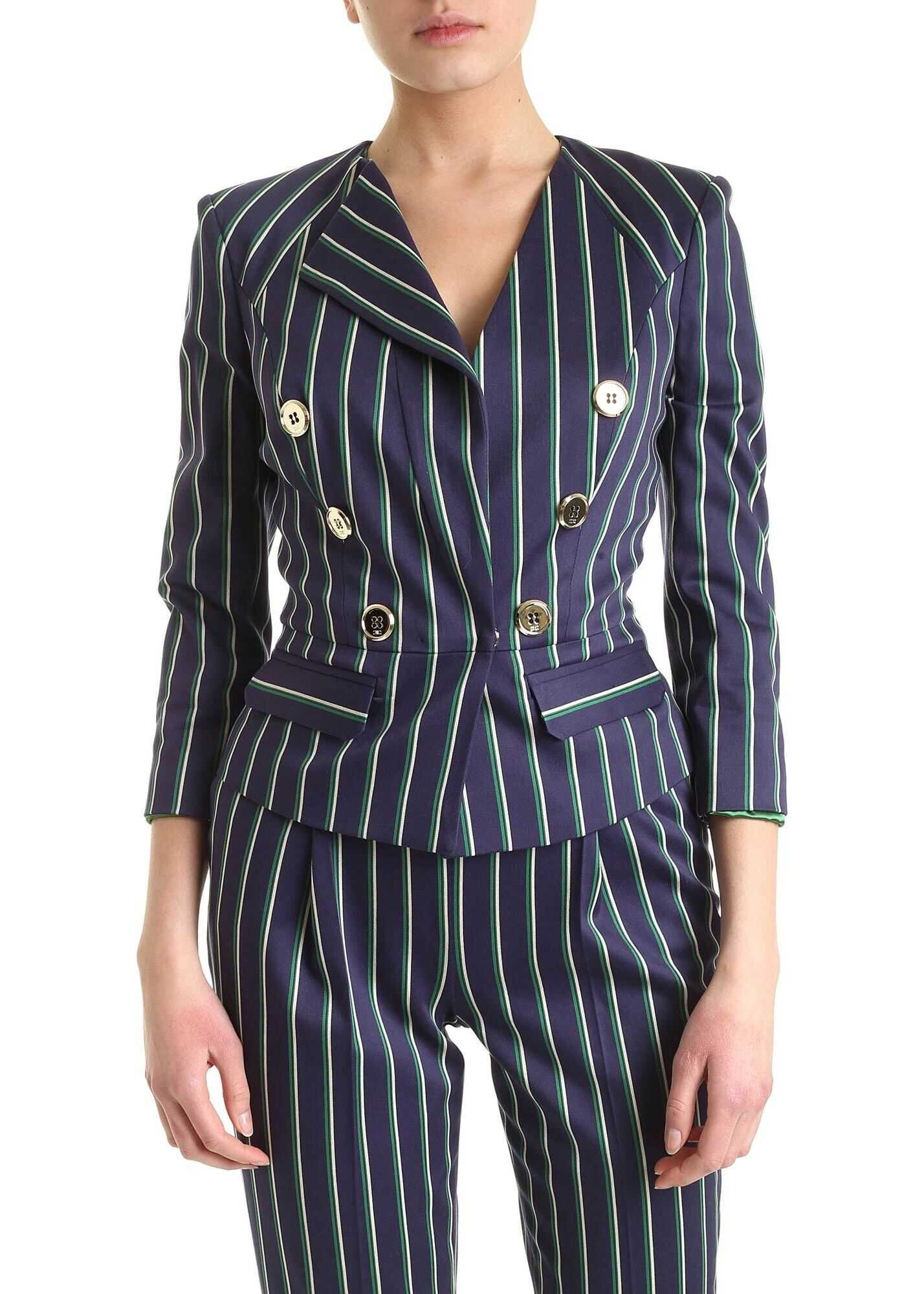 Elisabetta Franchi Striped Jacket In Green Blue And White Blue