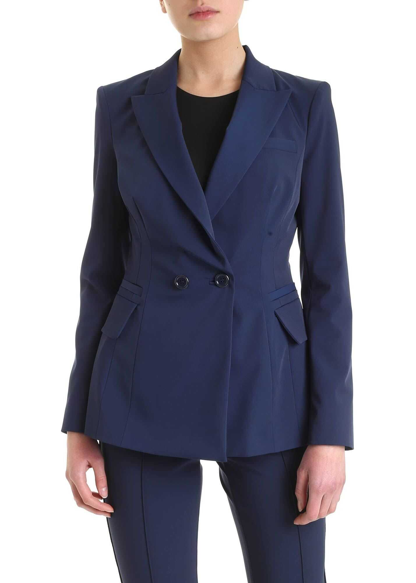 Elisabetta Franchi Long Cut Jacket In Blue Blue