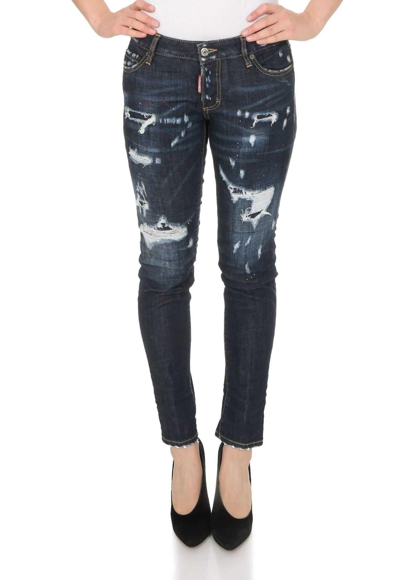 DSQUARED2 Jennifer Cropped Destroyed Jeans In Blue Blue
