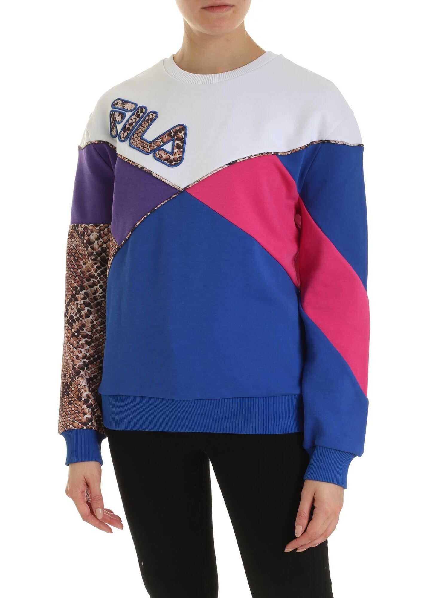 Fila Kana Electric Blue Sweatshirt With Print Logo White