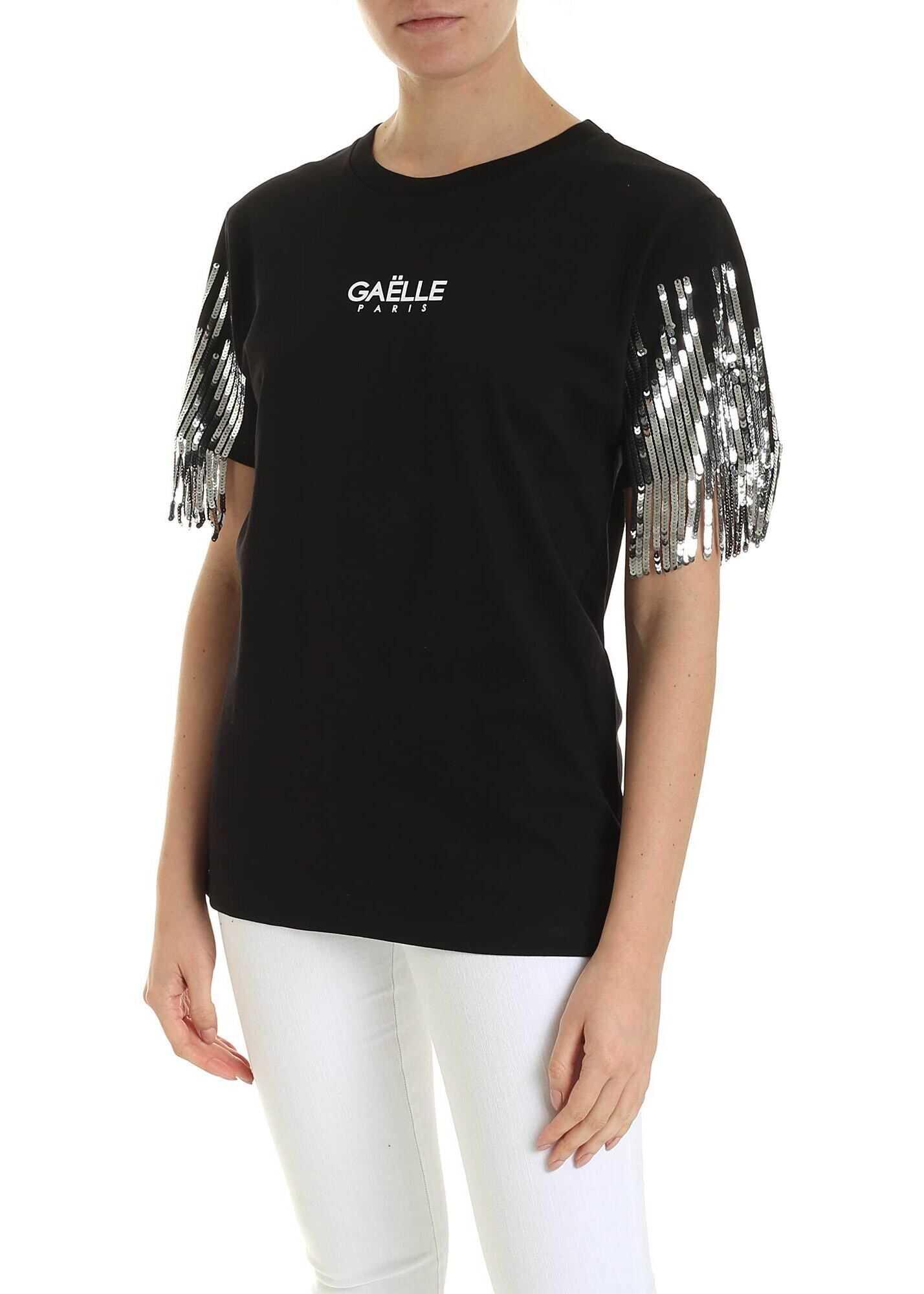 GAëLLE Paris Sequin Fringes T-Shirt In Black Black