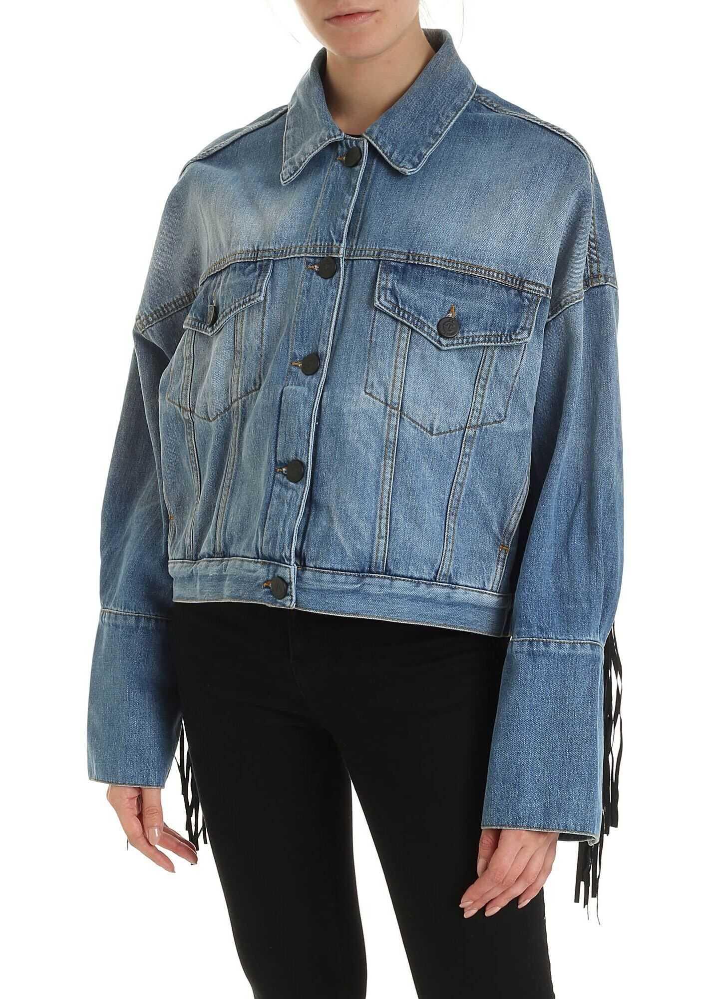 GAëLLE Paris Fringes Denim Jacket In Faded Light Blue Blue