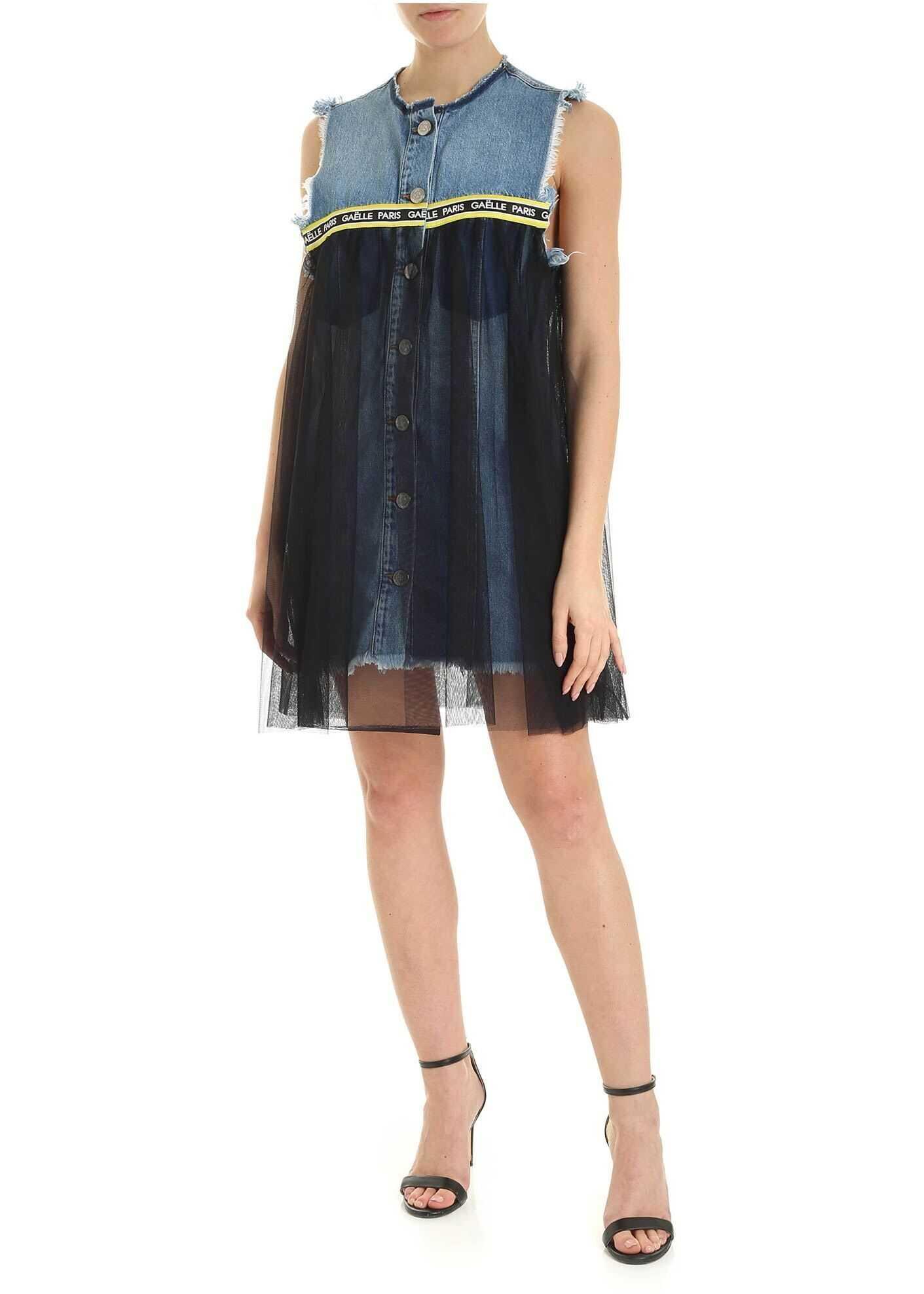 GAëLLE Paris Tulle Detail Denin Mini Dress In Light Blue Light Blue
