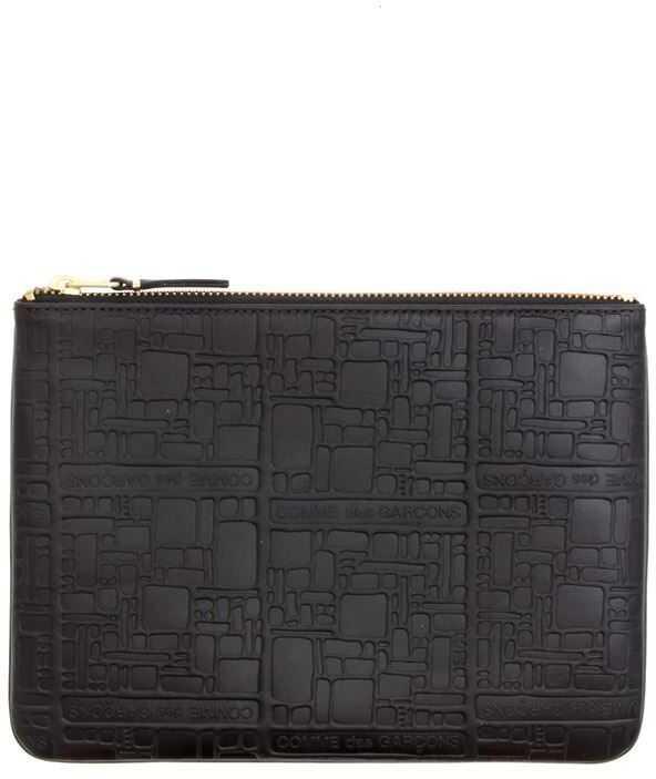 Comme des Garçons Embossed Logo Pouch In Black SA5100EL BLACK Black imagine b-mall.ro