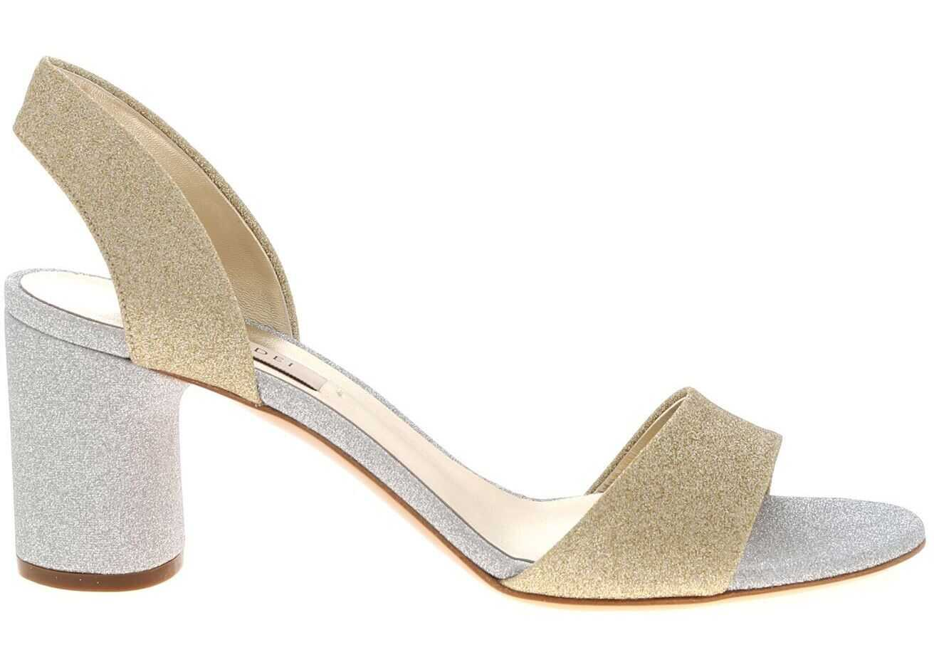 Casadei City Light Sandals In Gold And Silver Gold
