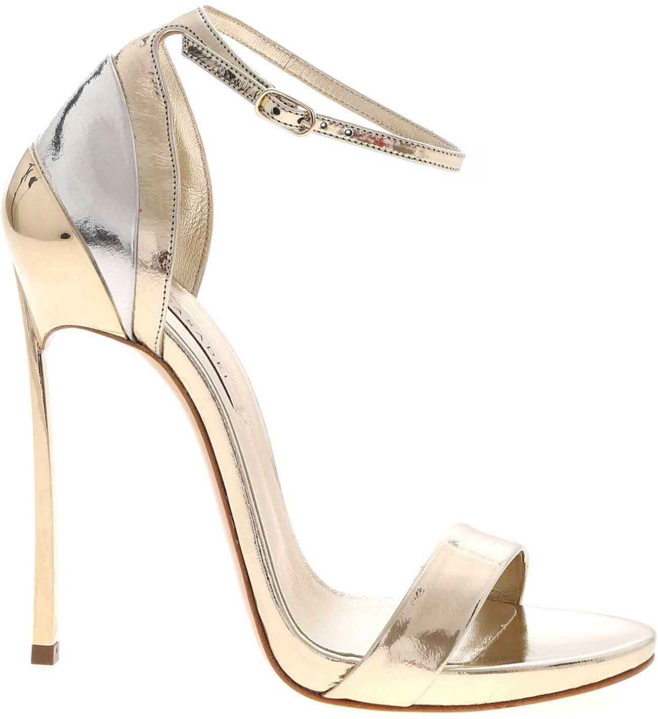 Casadei Visione Sandals In Platinum Color Gold