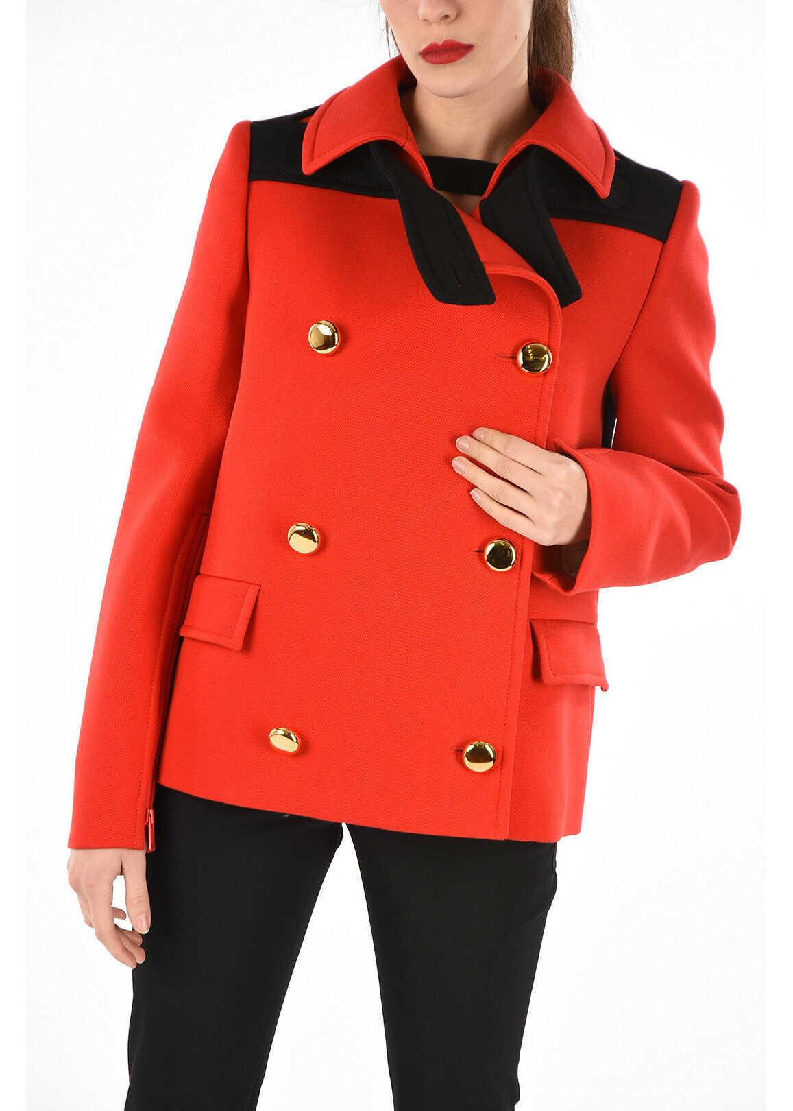 Prada Virgin wool double breasted coat RED