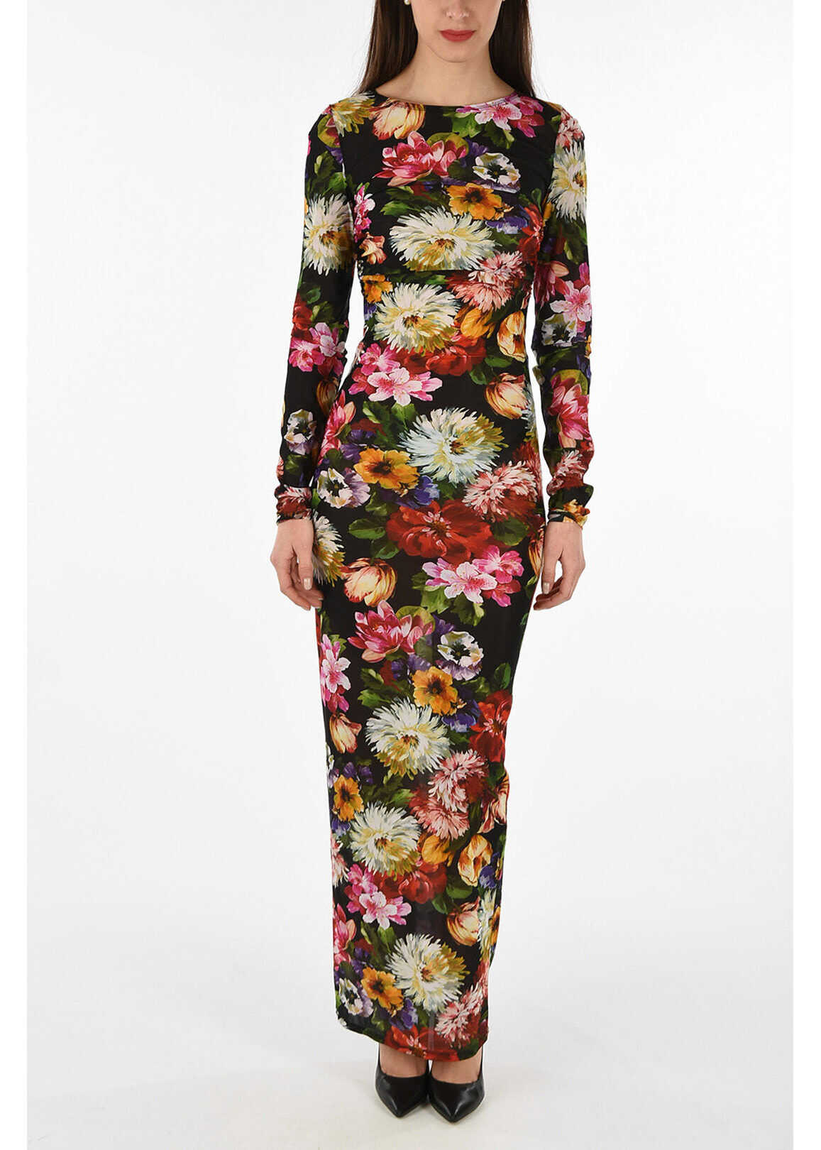 Prada Silk floral-print bodycon dress MULTICOLOR