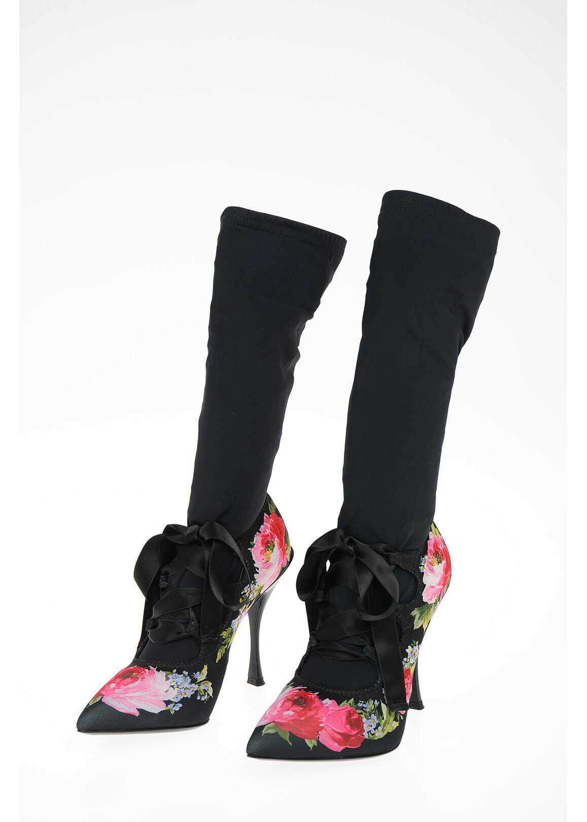 Dolce & Gabbana Floral Printed LORI Sock Boots 12 cm BLACK