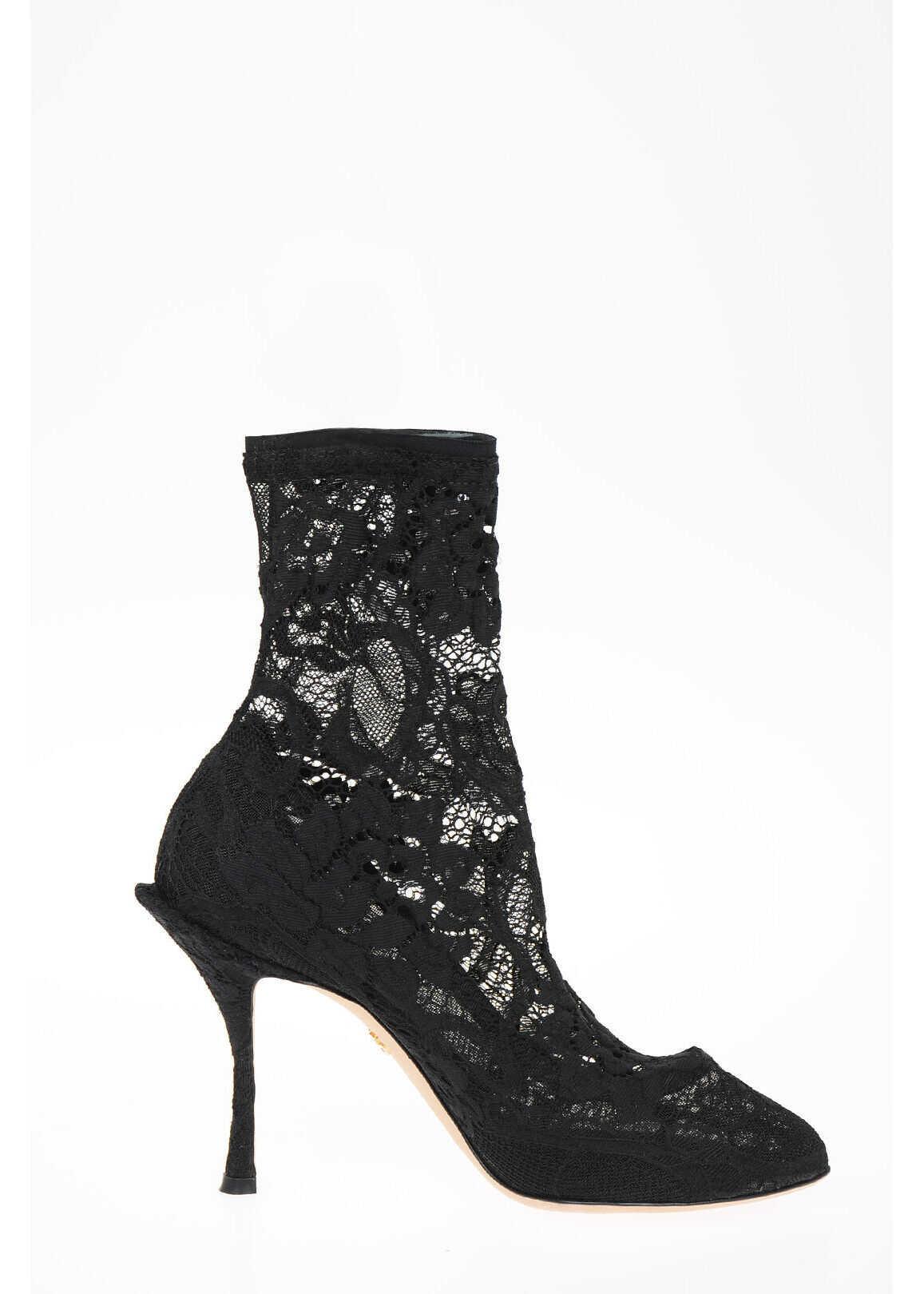 Dolce & Gabbana Lace COCO Sock Boots 11 cm BLACK