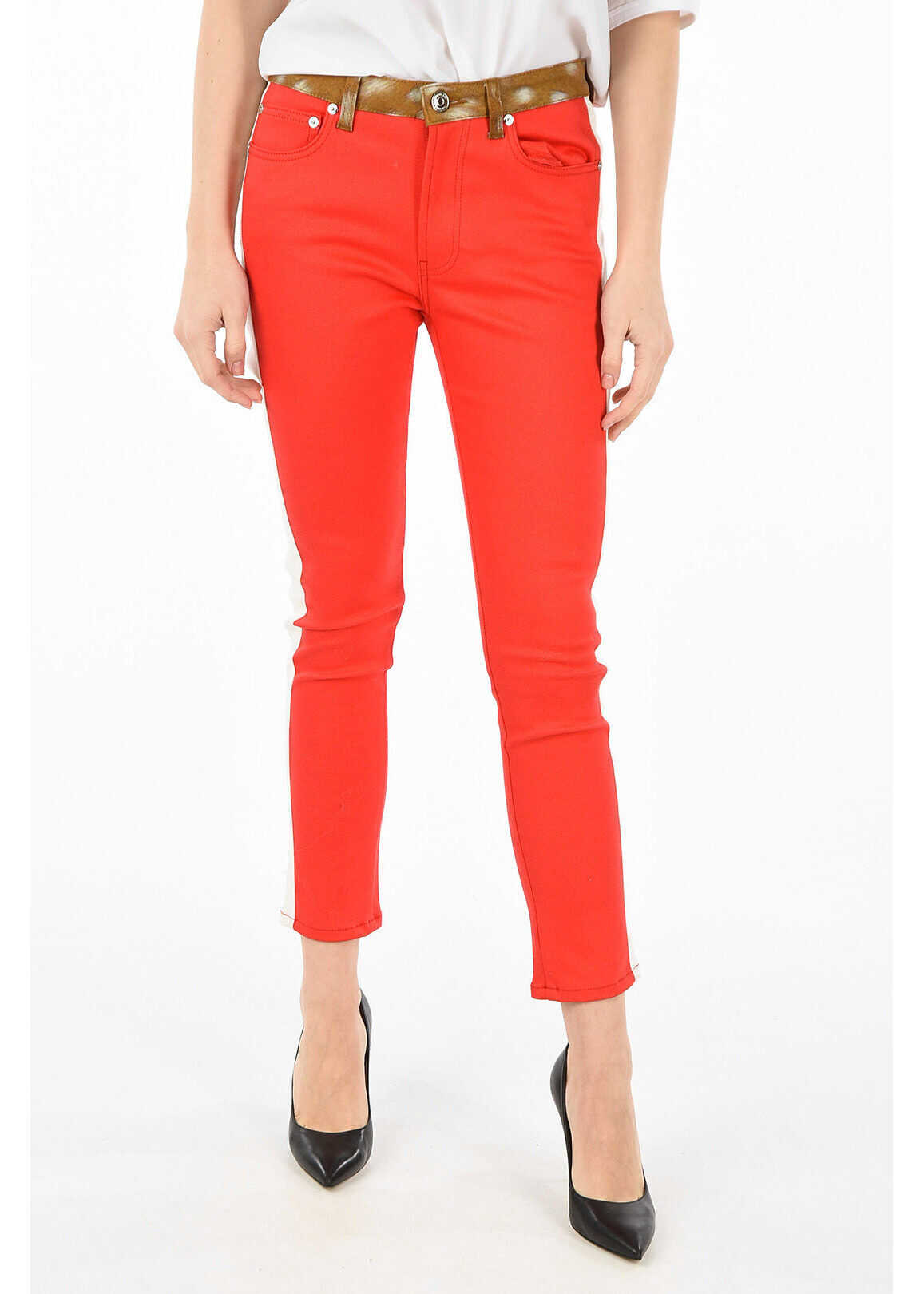 Burberry high-rise waist jeans RED