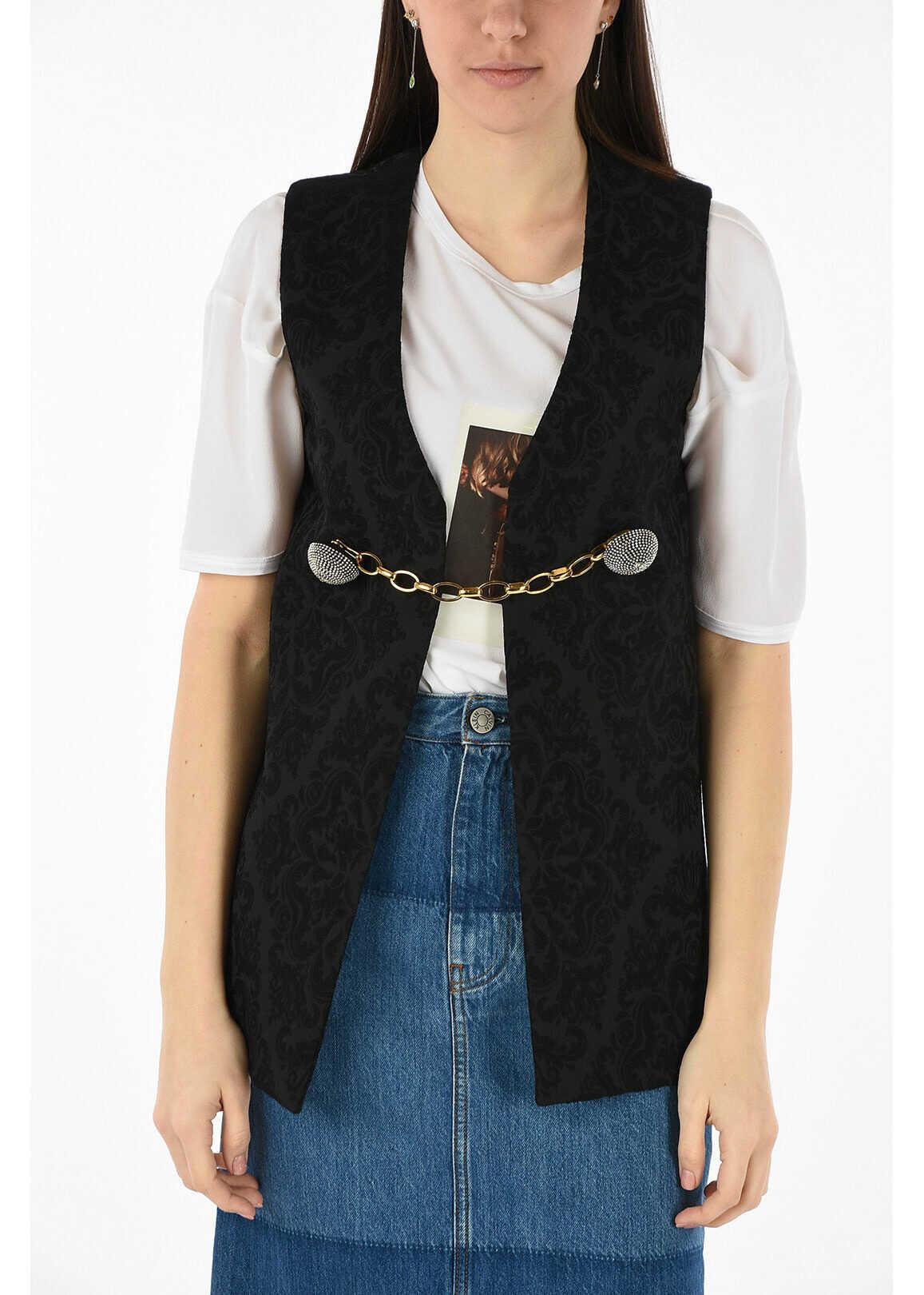 Saint Laurent anthemion-print vest BLACK