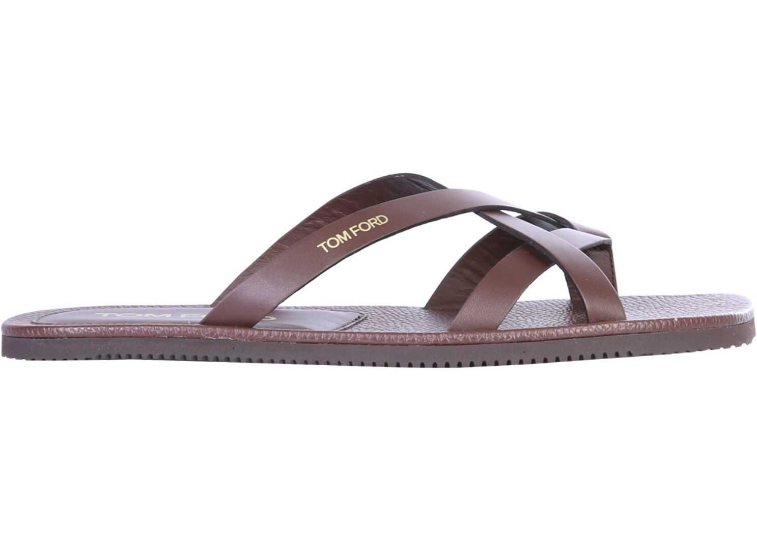 Tom Ford Sandals With Logo BROWN