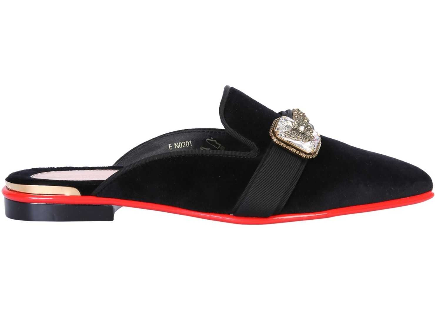 Alexander McQueen Mules Sandal With Jewel BLACK